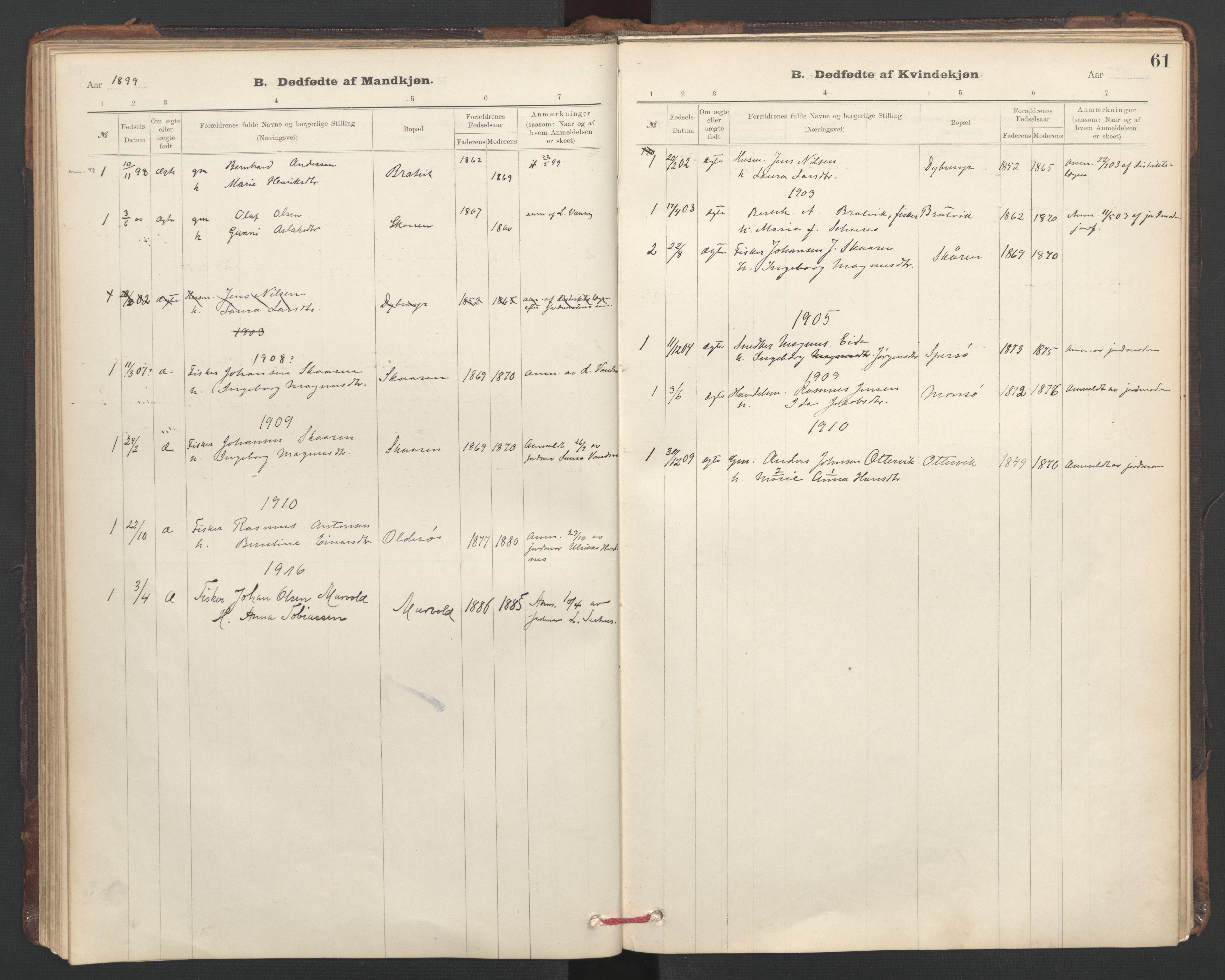 SAT, Ministerialprotokoller, klokkerbøker og fødselsregistre - Sør-Trøndelag, 635/L0552: Ministerialbok nr. 635A02, 1899-1919, s. 61