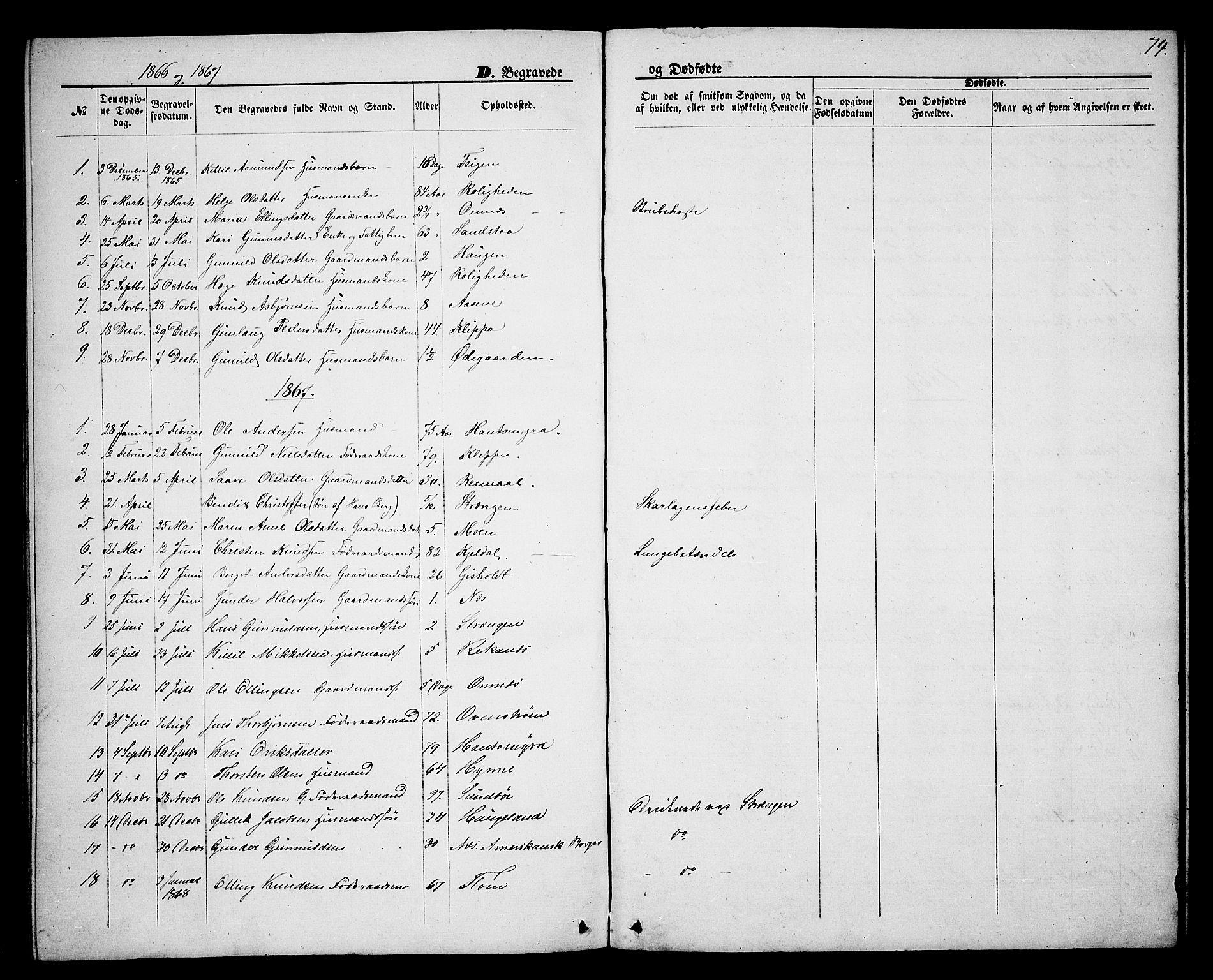 SAKO, Lunde kirkebøker, G/Gb/L0001: Klokkerbok nr. II 1, 1866-1887, s. 74