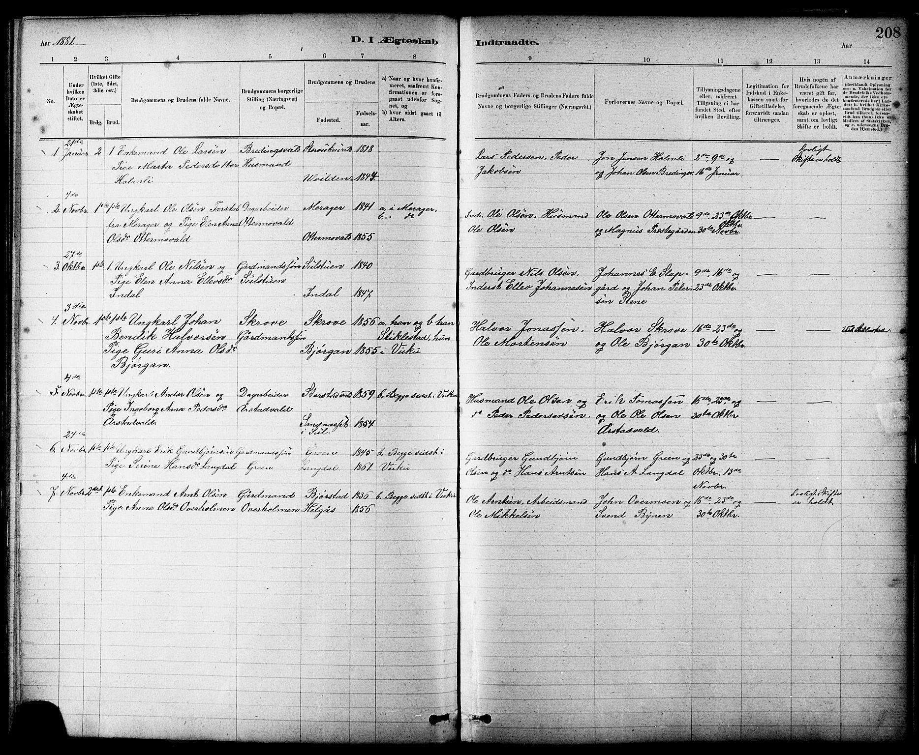 SAT, Ministerialprotokoller, klokkerbøker og fødselsregistre - Nord-Trøndelag, 724/L0267: Klokkerbok nr. 724C03, 1879-1898, s. 208