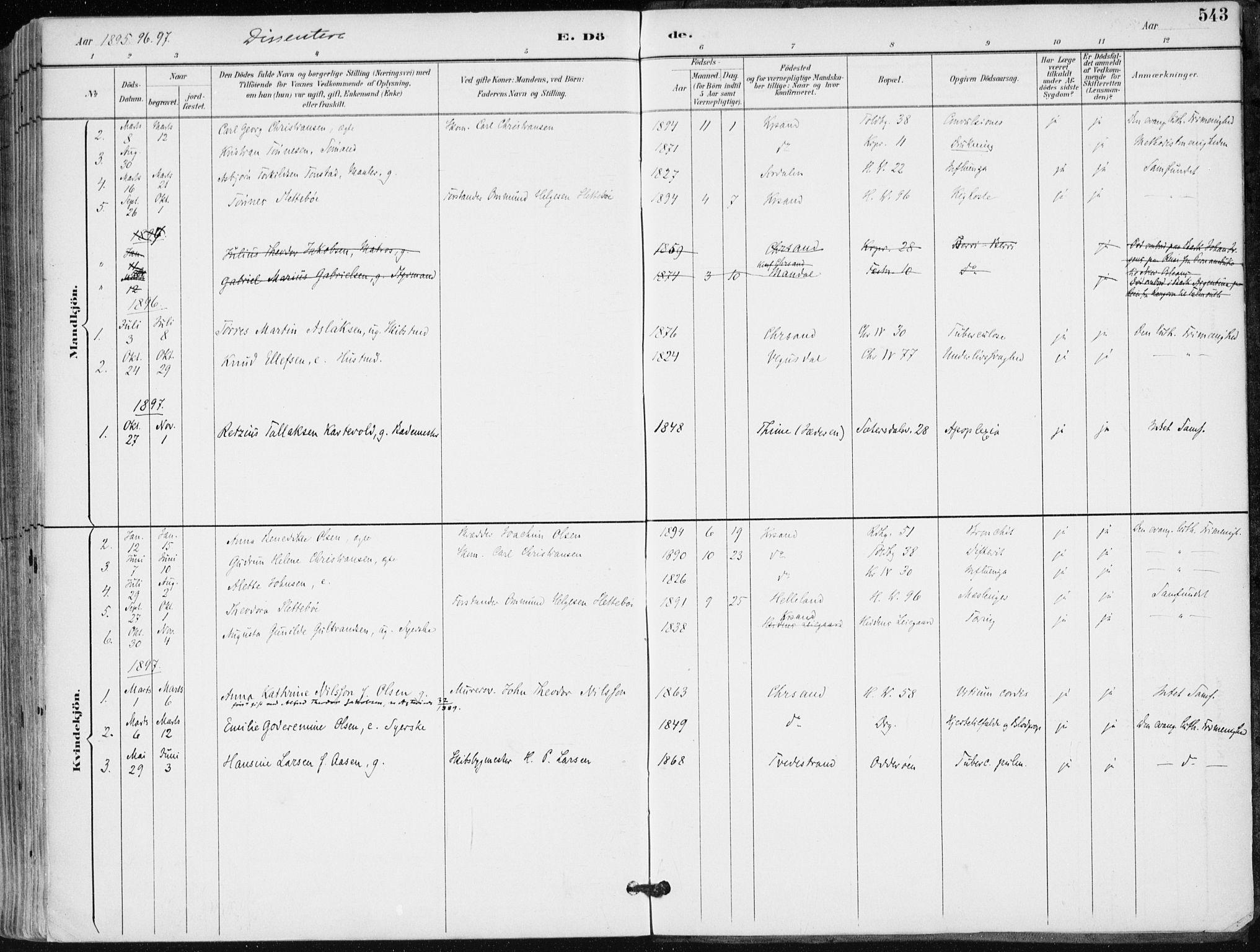 SAK, Kristiansand domprosti, F/Fa/L0019: Ministerialbok nr. A 18, 1890-1897, s. 543