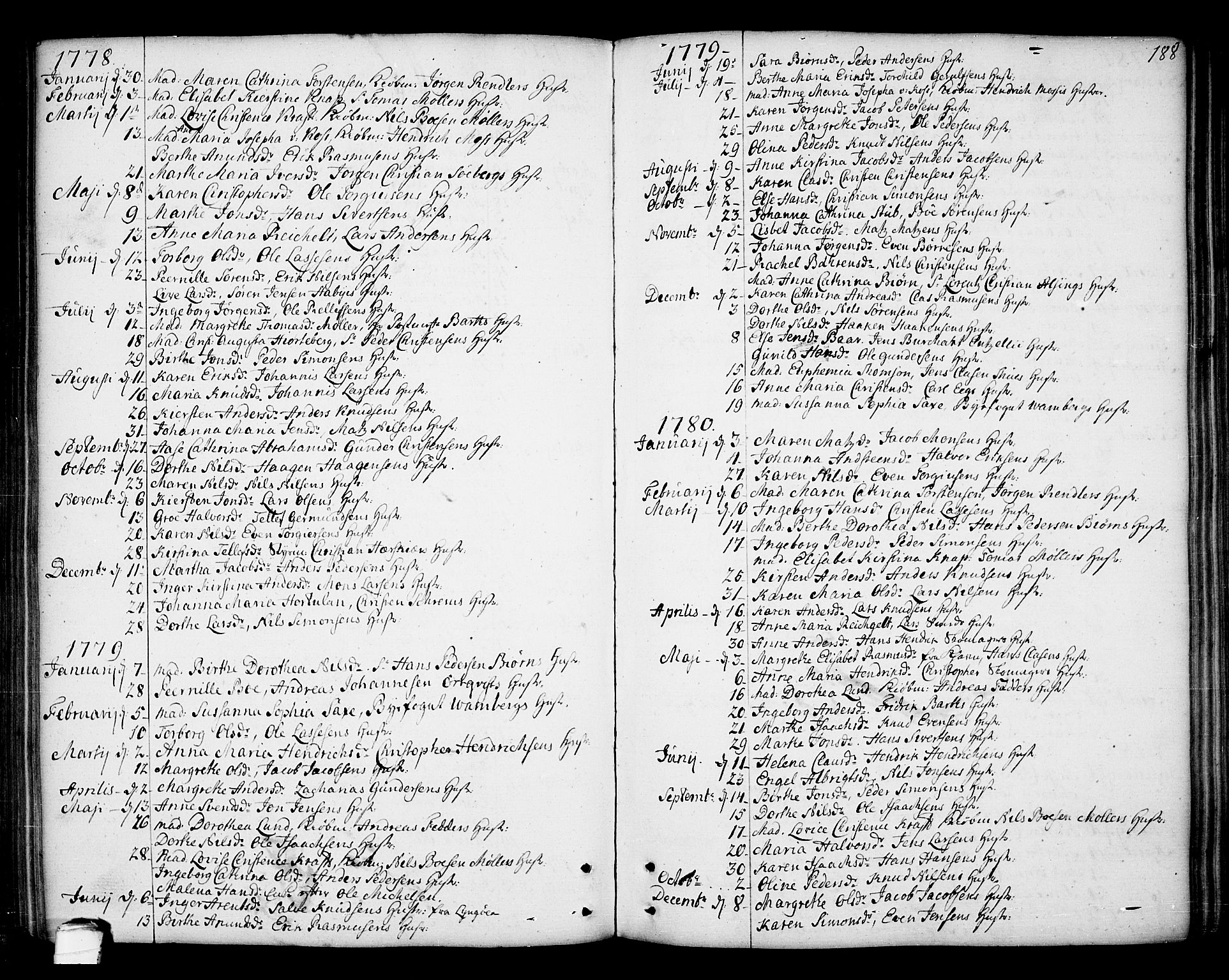 SAKO, Kragerø kirkebøker, F/Fa/L0002: Ministerialbok nr. 2, 1767-1802, s. 188