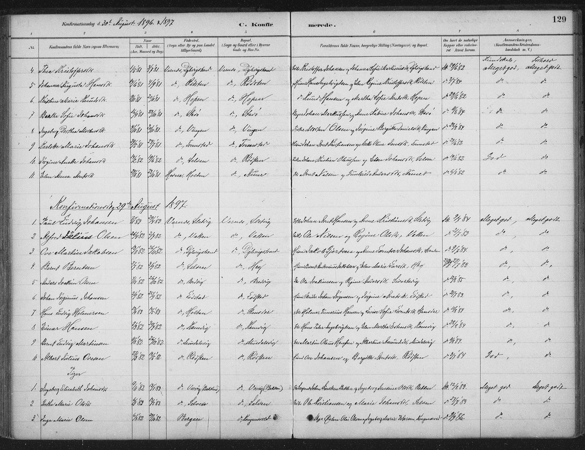SAT, Ministerialprotokoller, klokkerbøker og fødselsregistre - Sør-Trøndelag, 662/L0755: Ministerialbok nr. 662A01, 1879-1905, s. 129