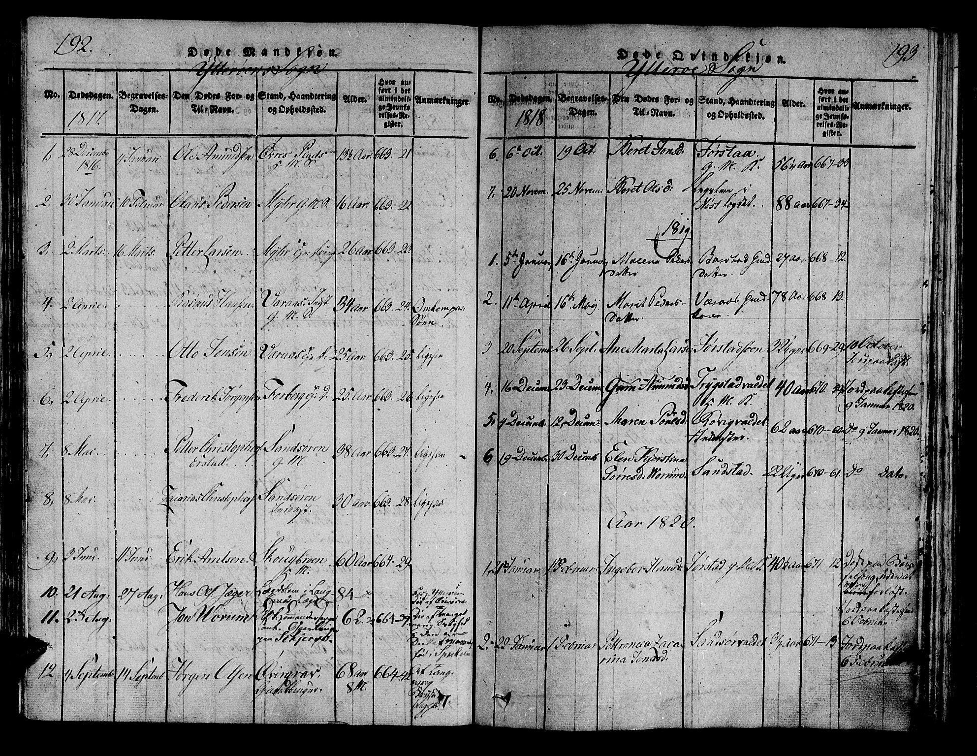SAT, Ministerialprotokoller, klokkerbøker og fødselsregistre - Nord-Trøndelag, 722/L0217: Ministerialbok nr. 722A04, 1817-1842, s. 192-193