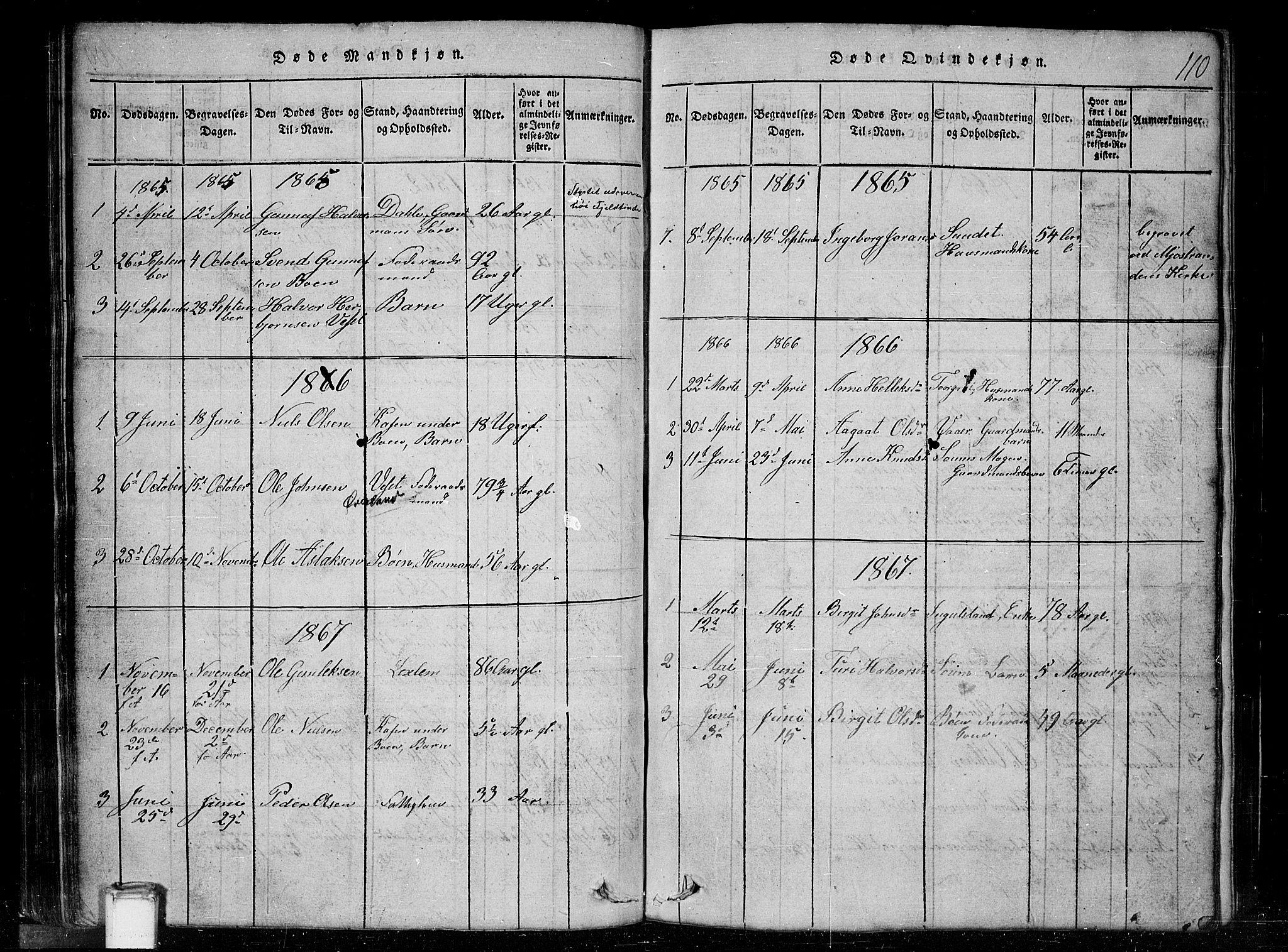 SAKO, Tinn kirkebøker, G/Gc/L0001: Klokkerbok nr. III 1, 1815-1879, s. 110