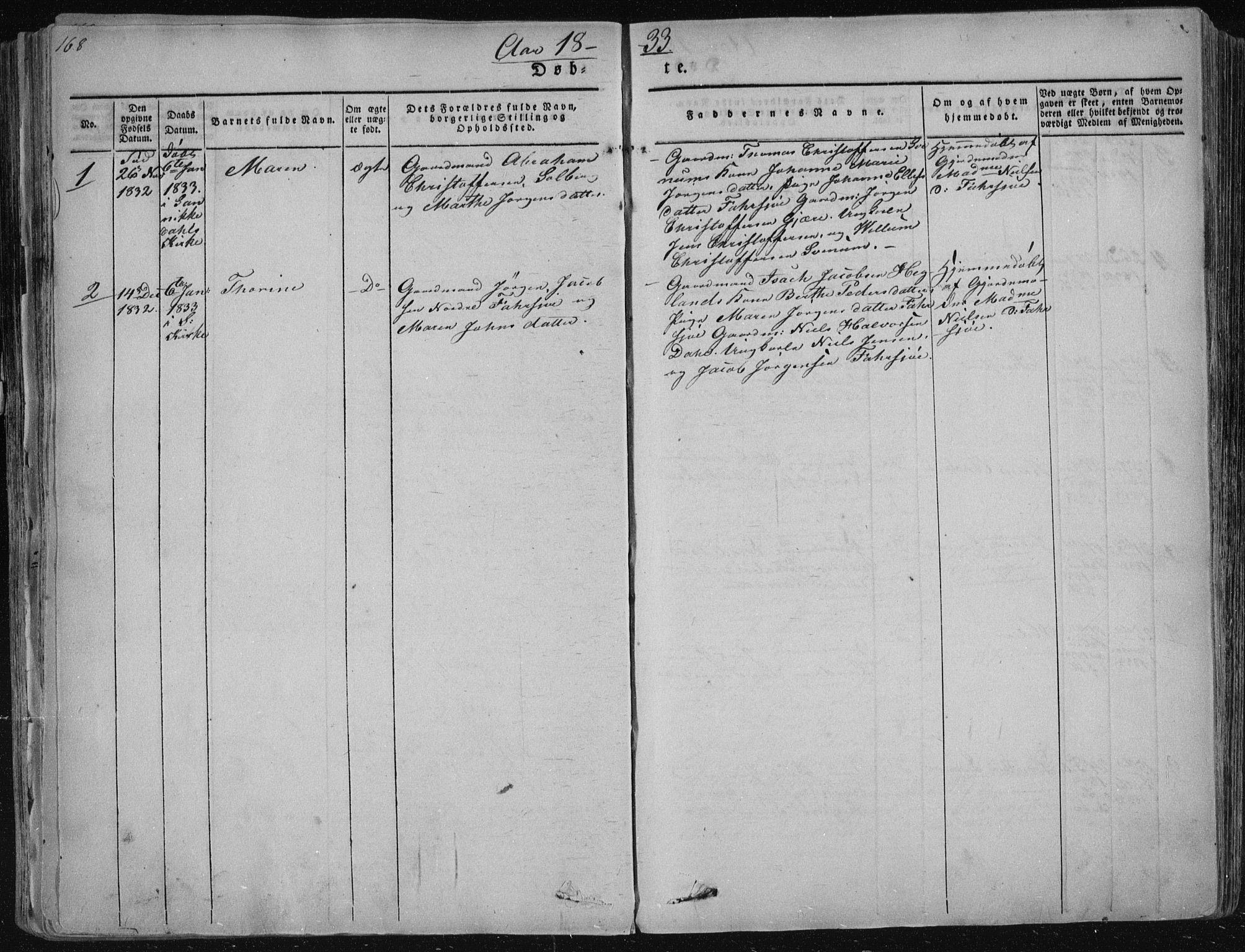 SAKO, Sannidal kirkebøker, F/Fa/L0006: Ministerialbok nr. 6, 1831-1847, s. 168