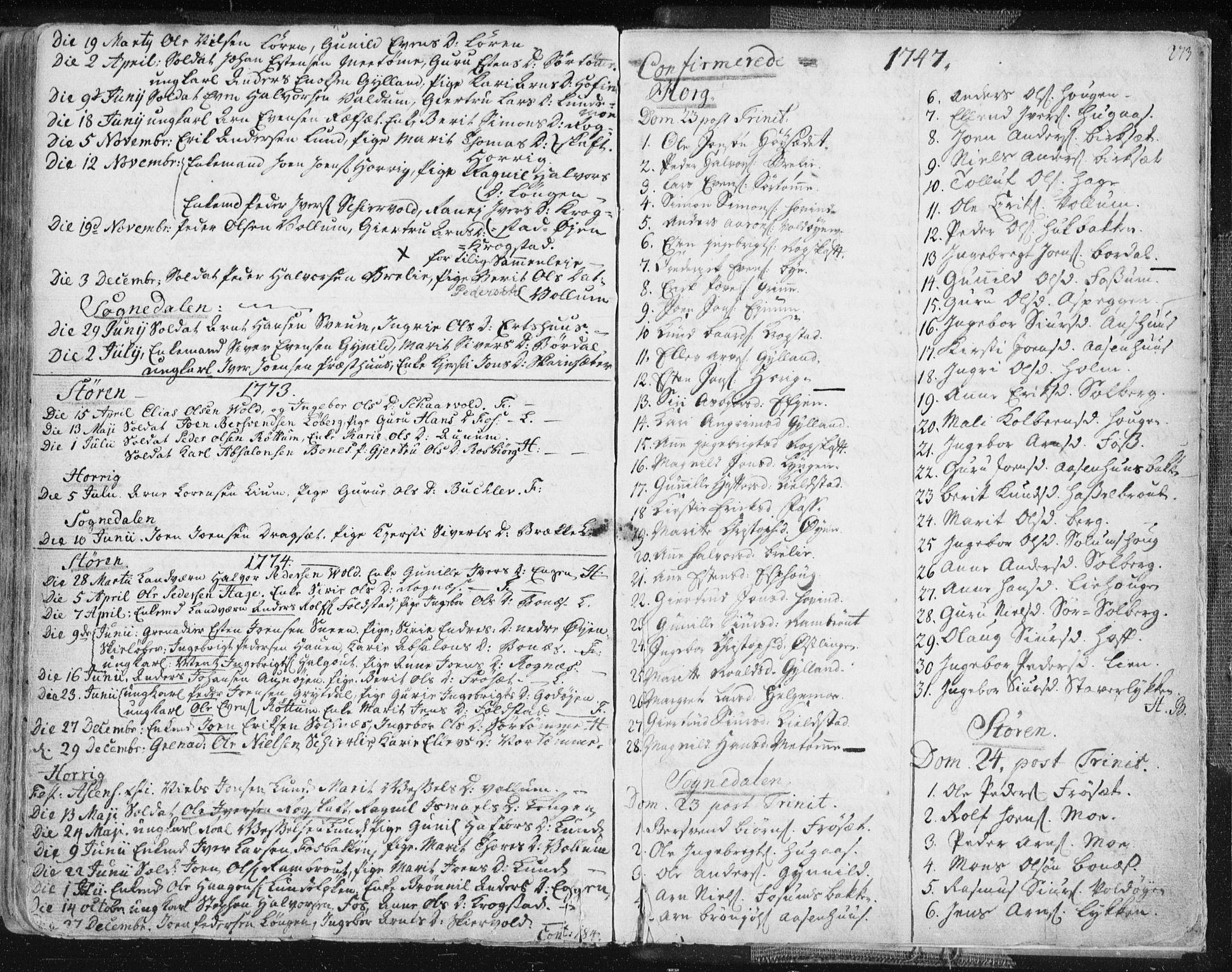 SAT, Ministerialprotokoller, klokkerbøker og fødselsregistre - Sør-Trøndelag, 687/L0991: Ministerialbok nr. 687A02, 1747-1790, s. 273
