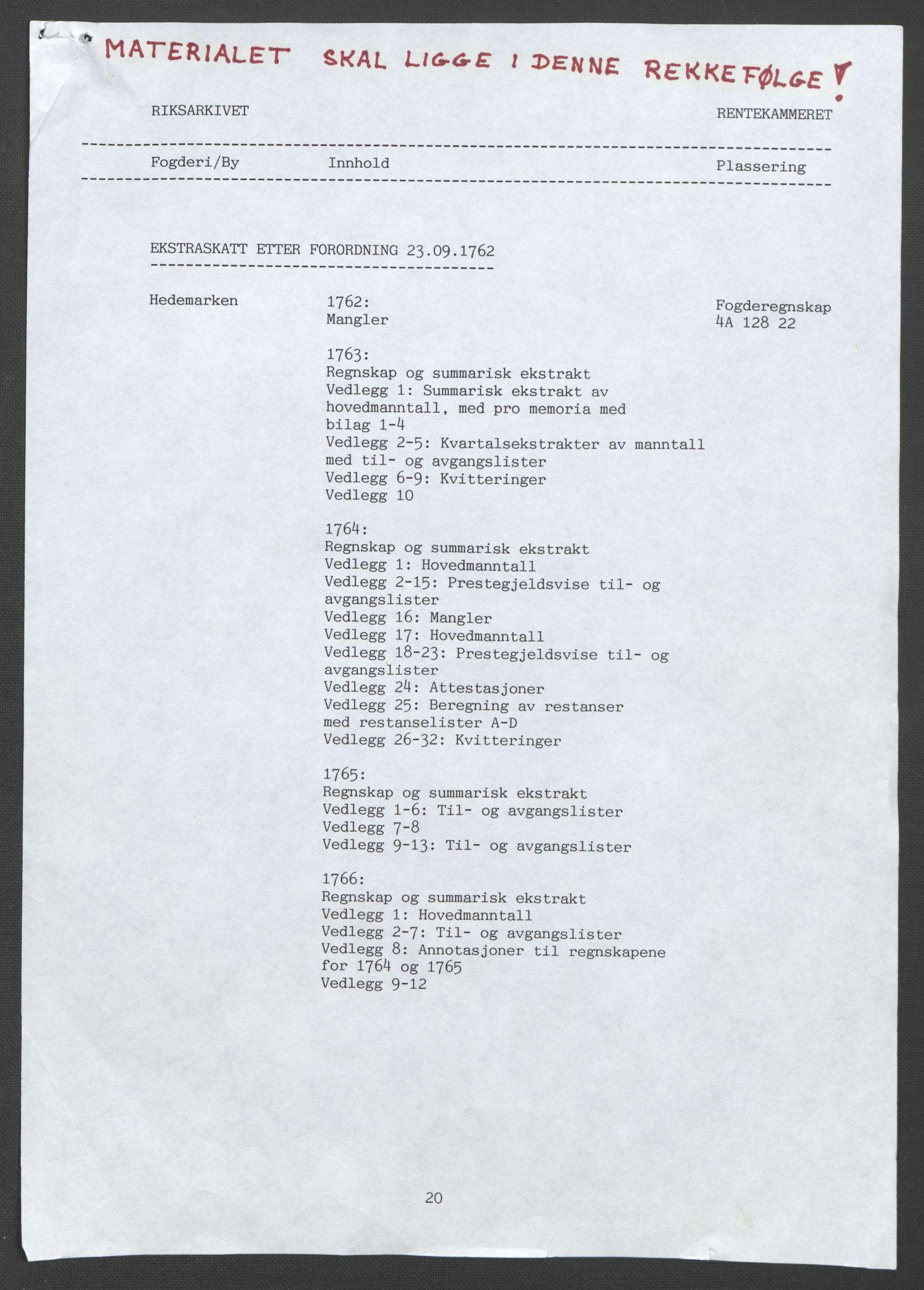 RA, Rentekammeret inntil 1814, Reviderte regnskaper, Fogderegnskap, R16/L1147: Ekstraskatten Hedmark, 1763-1764, s. 2