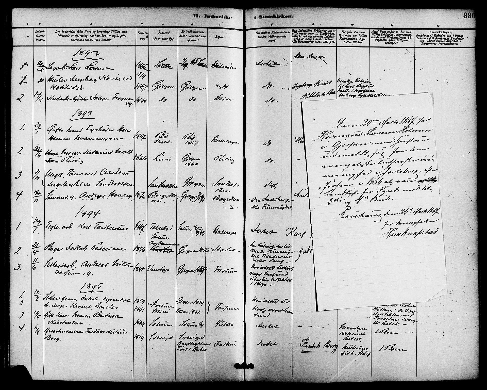 SAKO, Gjerpen kirkebøker, F/Fa/L0010: Ministerialbok nr. 10, 1886-1895, s. 330