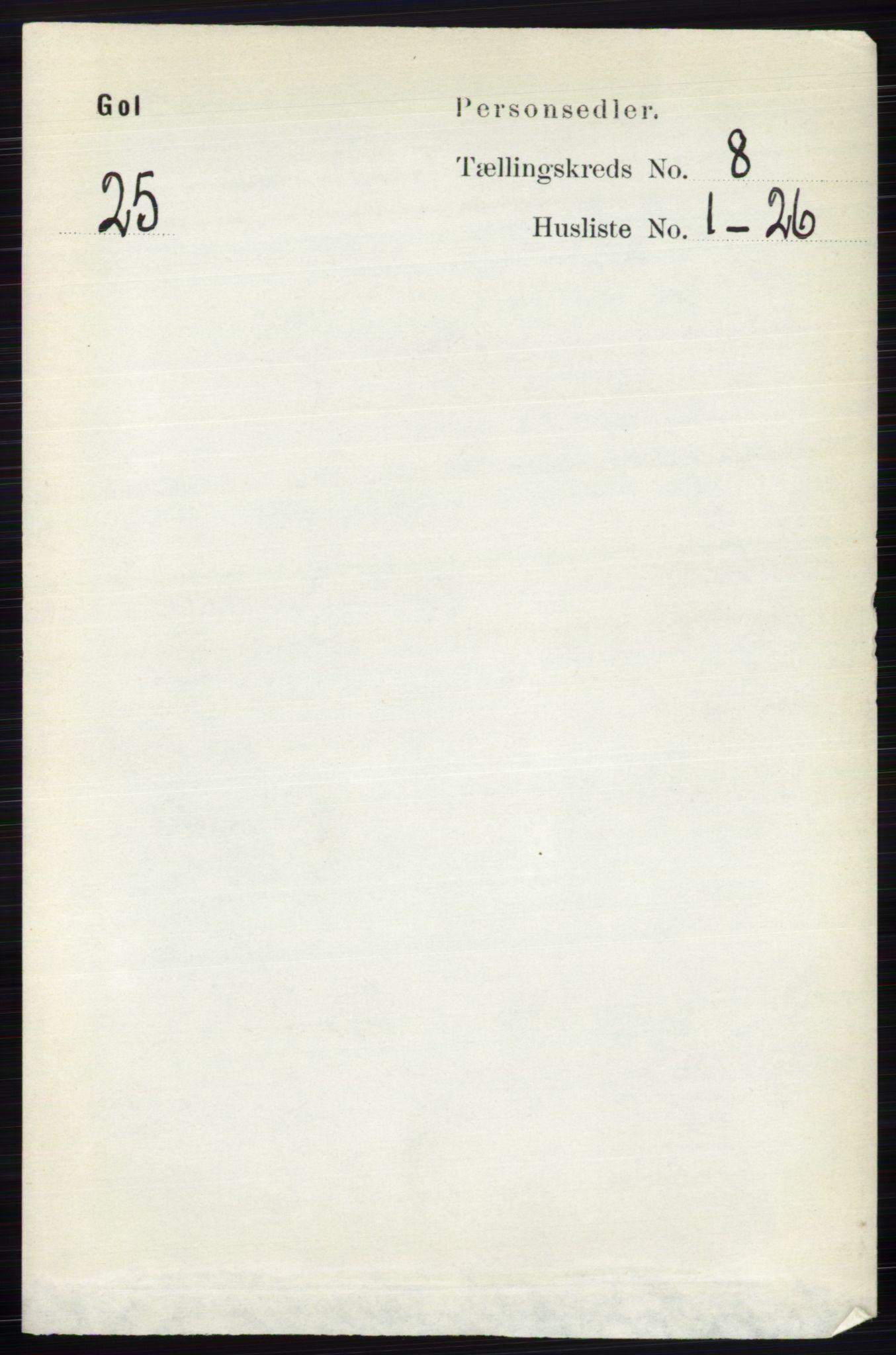 RA, Folketelling 1891 for 0617 Gol og Hemsedal herred, 1891, s. 3034