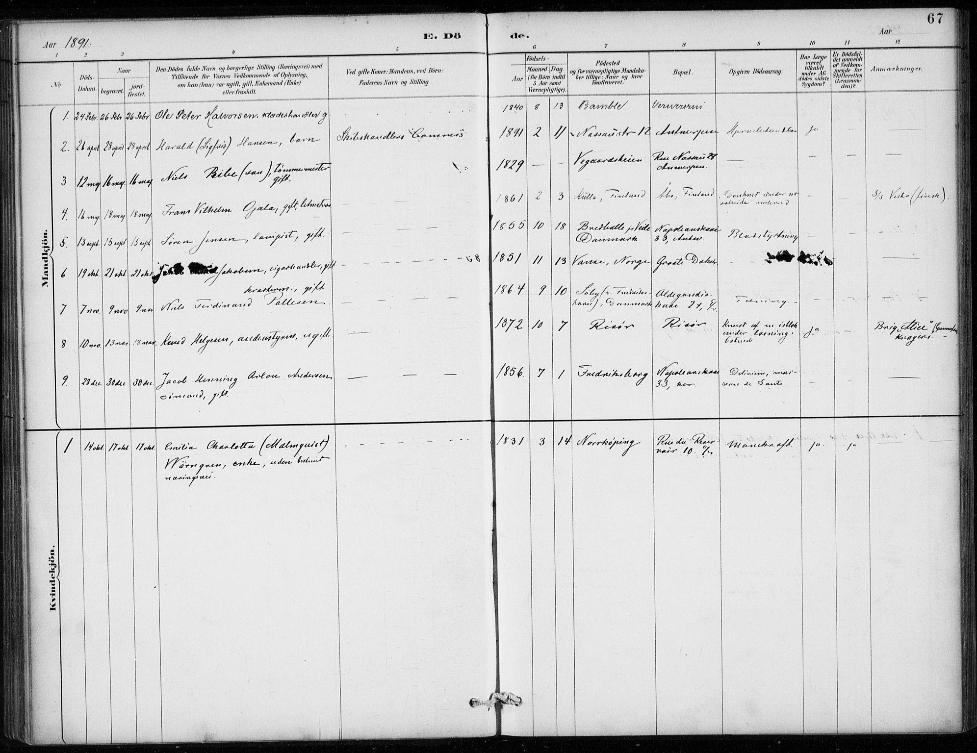 SAB, Den Norske Sjømannsmisjon i utlandet*, Ministerialbok nr. A 2, 1887-1913, s. 67