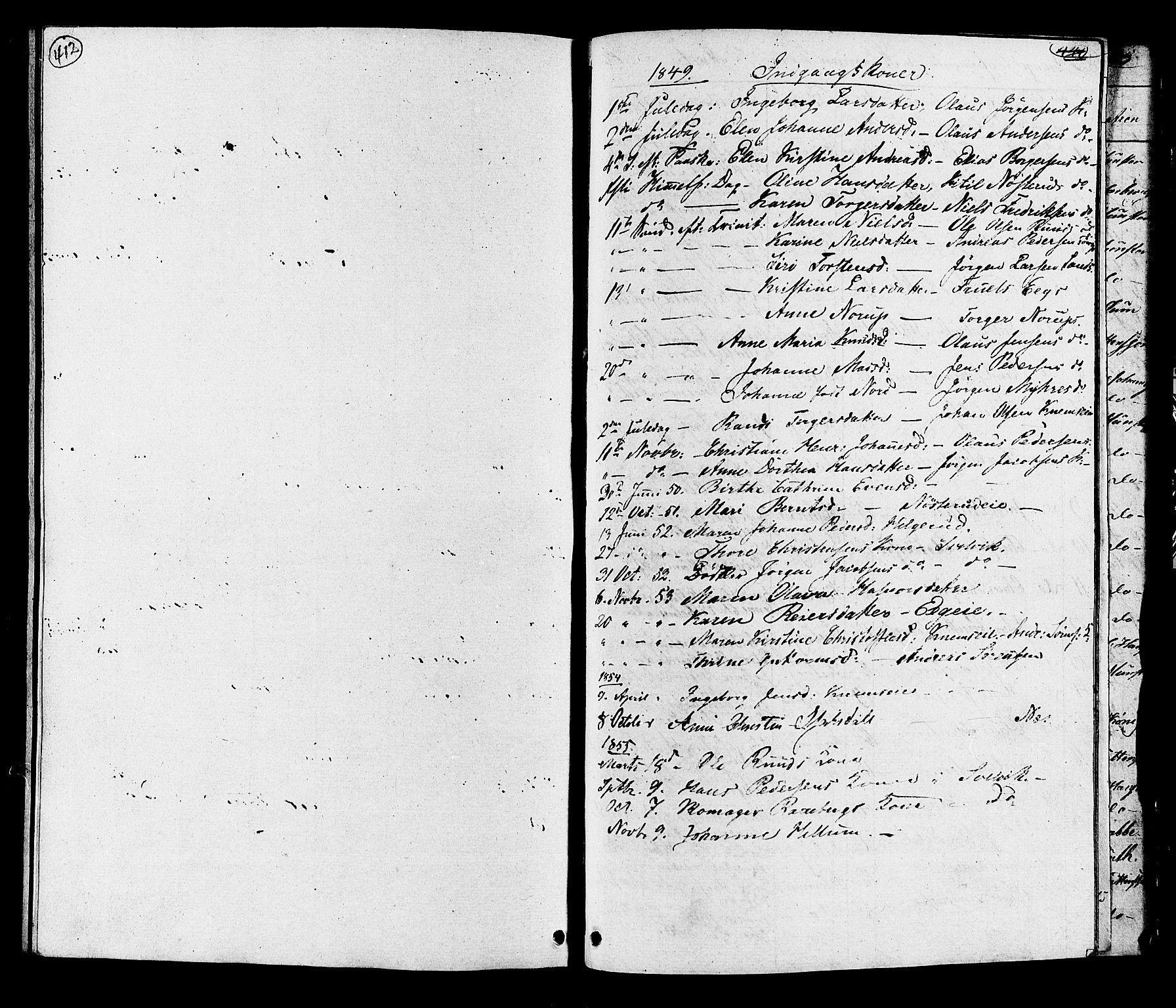SAKO, Hurum kirkebøker, G/Ga/L0002: Klokkerbok nr. I 2, 1827-1857, s. 412