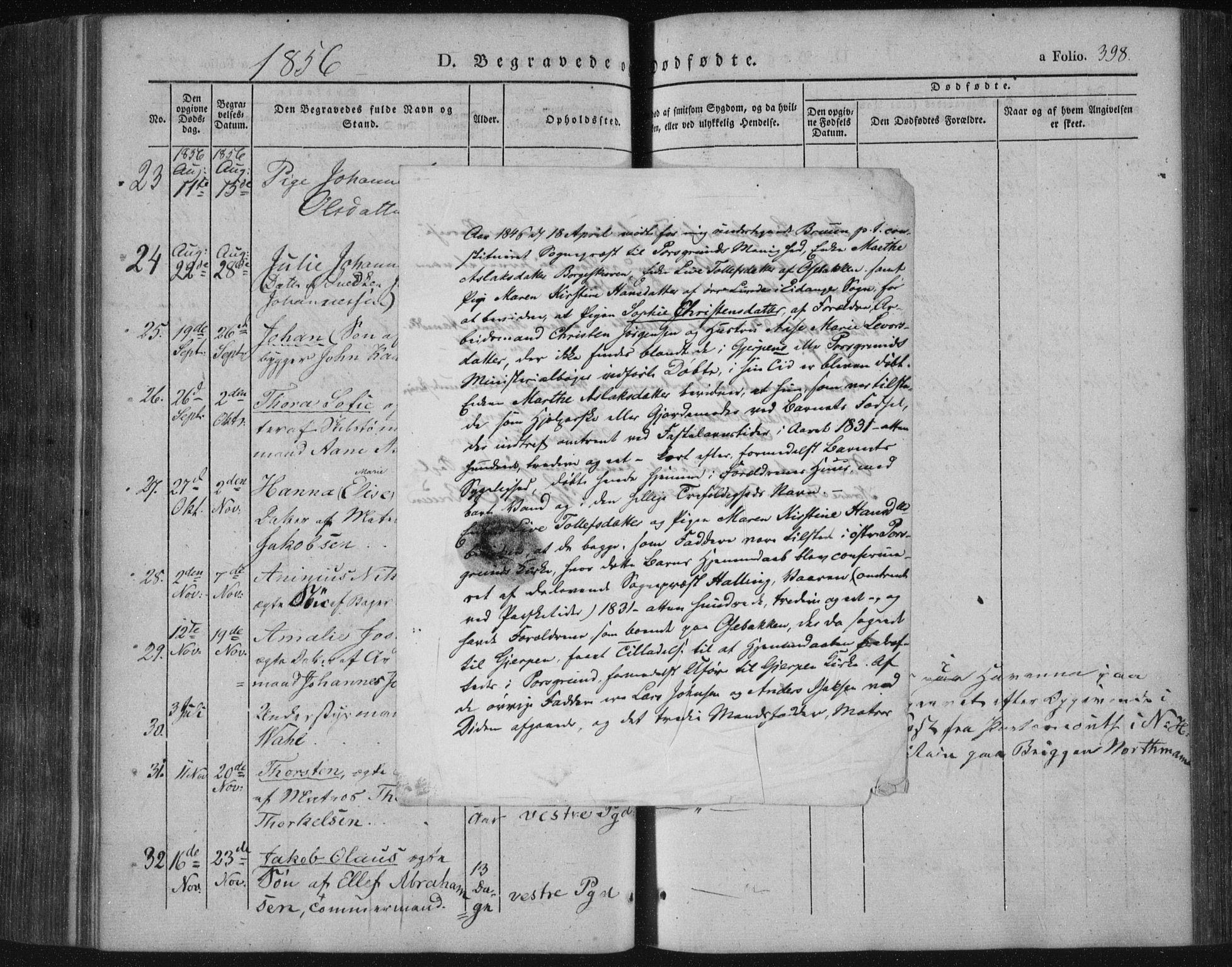 SAKO, Porsgrunn kirkebøker , F/Fa/L0006: Ministerialbok nr. 6, 1841-1857, s. 398