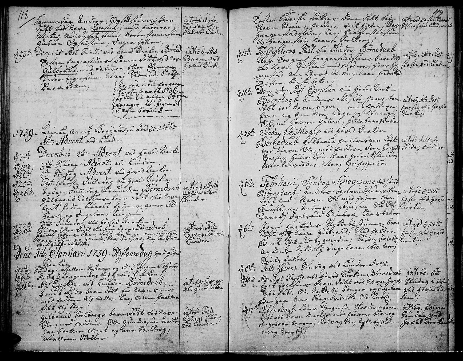 SAH, Jevnaker prestekontor, Ministerialbok nr. 2, 1725-1751, s. 118-119