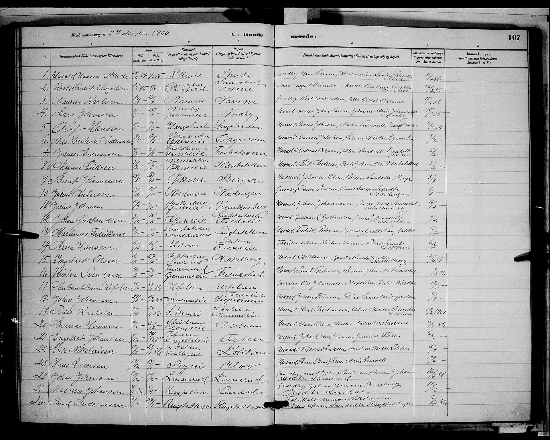 SAH, Søndre Land prestekontor, L/L0002: Klokkerbok nr. 2, 1884-1900, s. 107