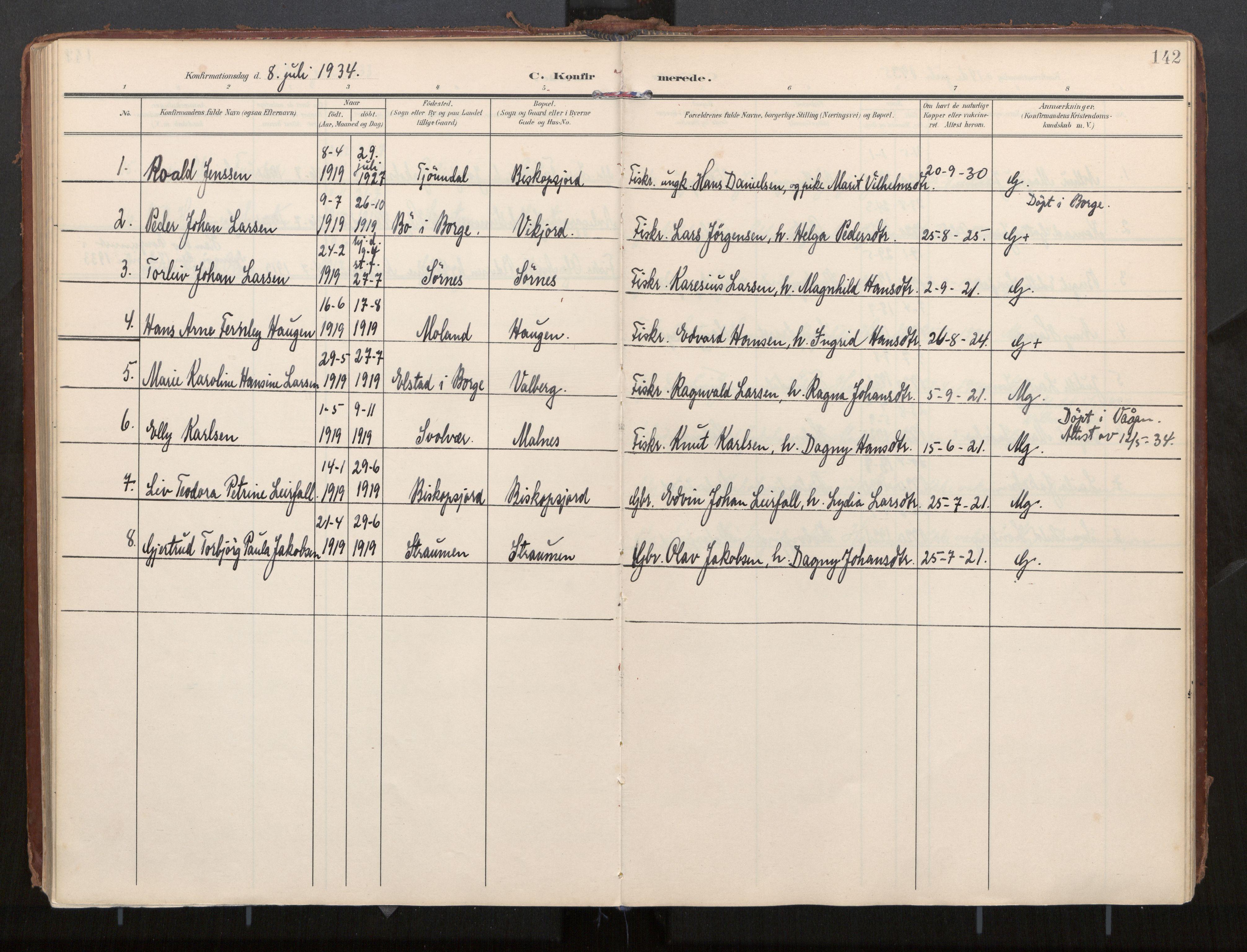SAT, Ministerialprotokoller, klokkerbøker og fødselsregistre - Nordland, 884/L1194: Ministerialbok nr. 884A02, 1906-1937, s. 142