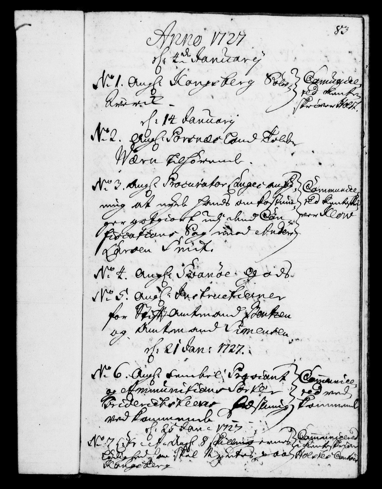 RA, Rentekammeret, Kammerkanselliet, G/Gf/Gfb/L0002: Register til norske relasjons- og resolusjonsprotokoller (merket RK 52.97), 1724-1728, s. 83