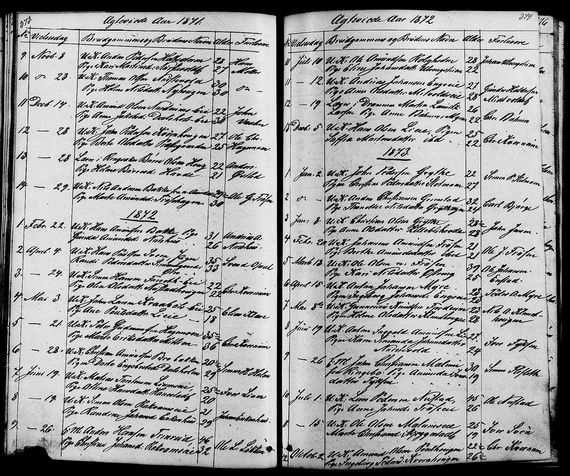 SAH, Østre Gausdal prestekontor, Klokkerbok nr. 1, 1863-1893, s. 373-374