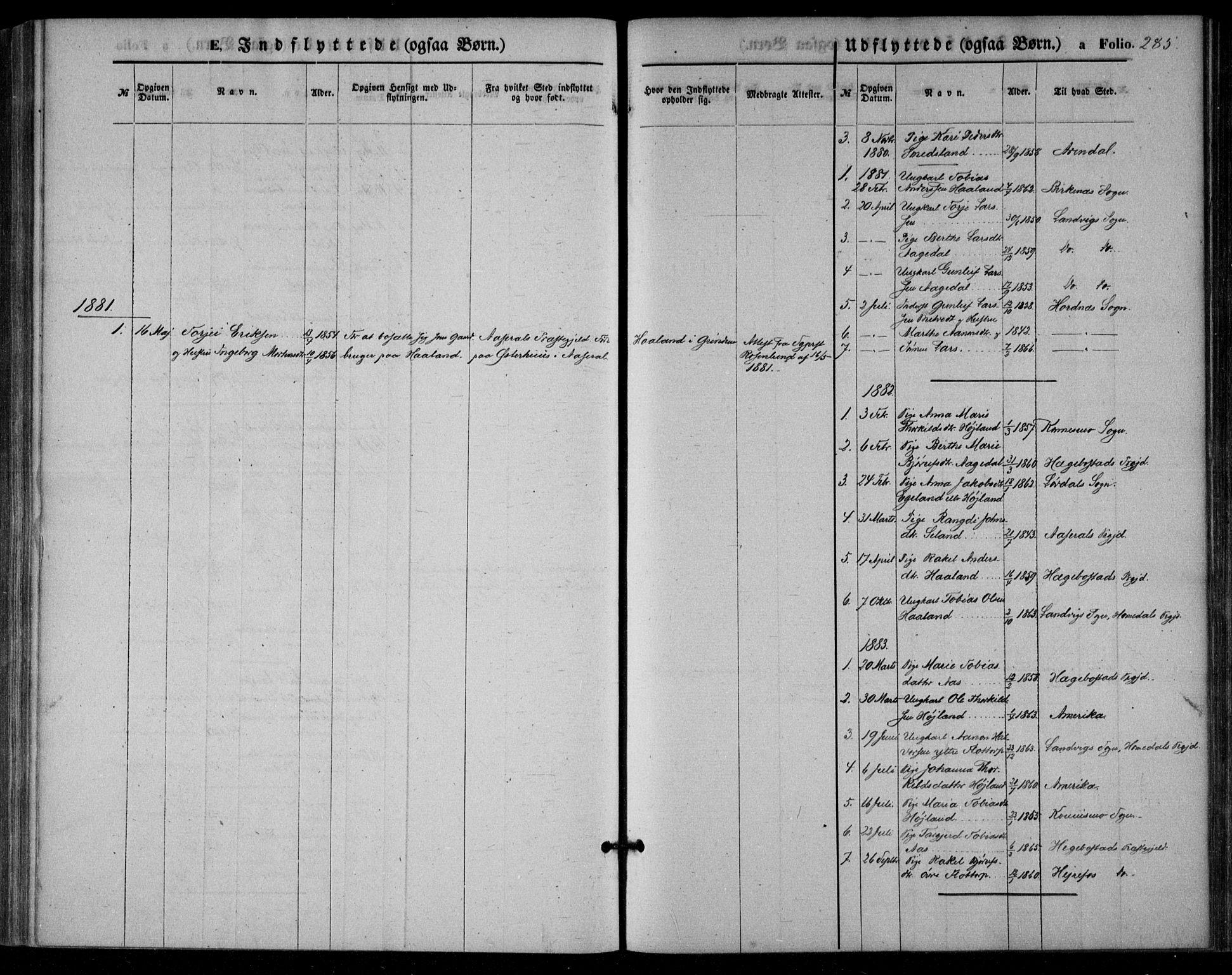 SAK, Bjelland sokneprestkontor, F/Fa/Fac/L0002: Ministerialbok nr. A 2, 1866-1887, s. 285