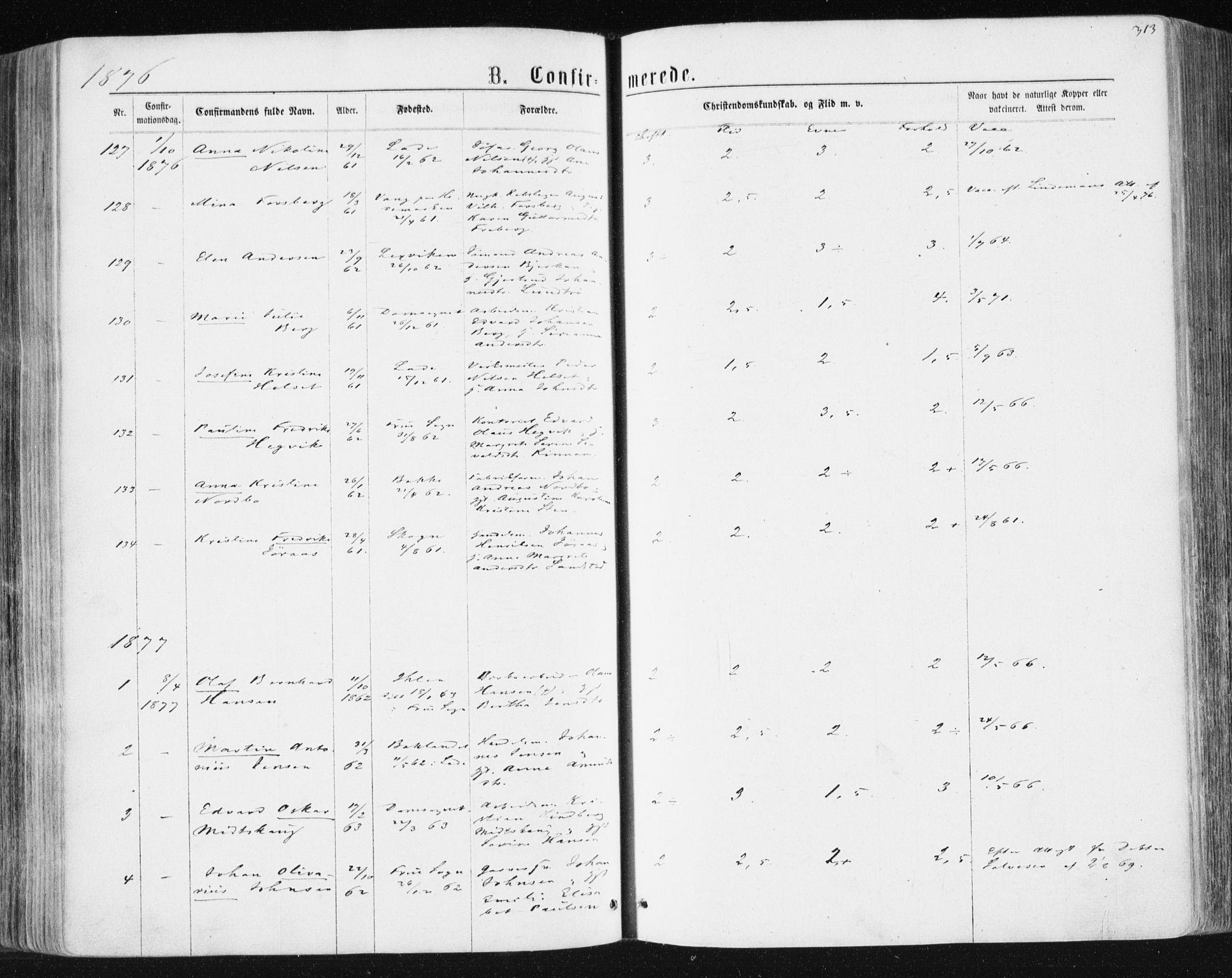 SAT, Ministerialprotokoller, klokkerbøker og fødselsregistre - Sør-Trøndelag, 604/L0186: Ministerialbok nr. 604A07, 1866-1877, s. 313