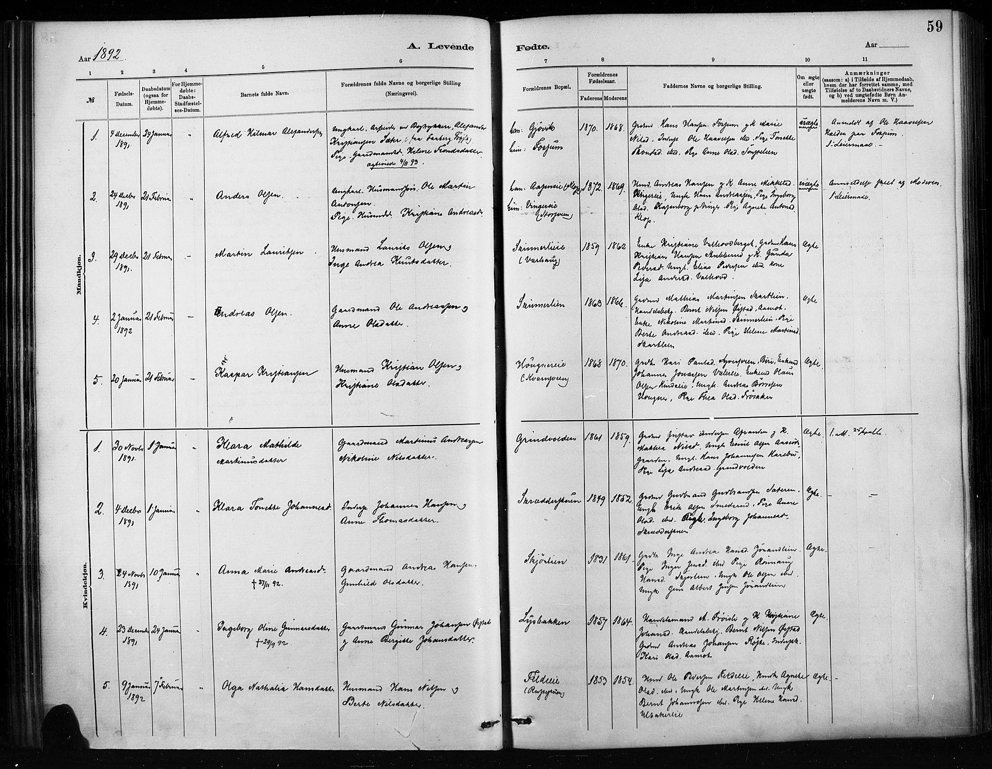 SAH, Nordre Land prestekontor, Ministerialbok nr. 4, 1882-1896, s. 59