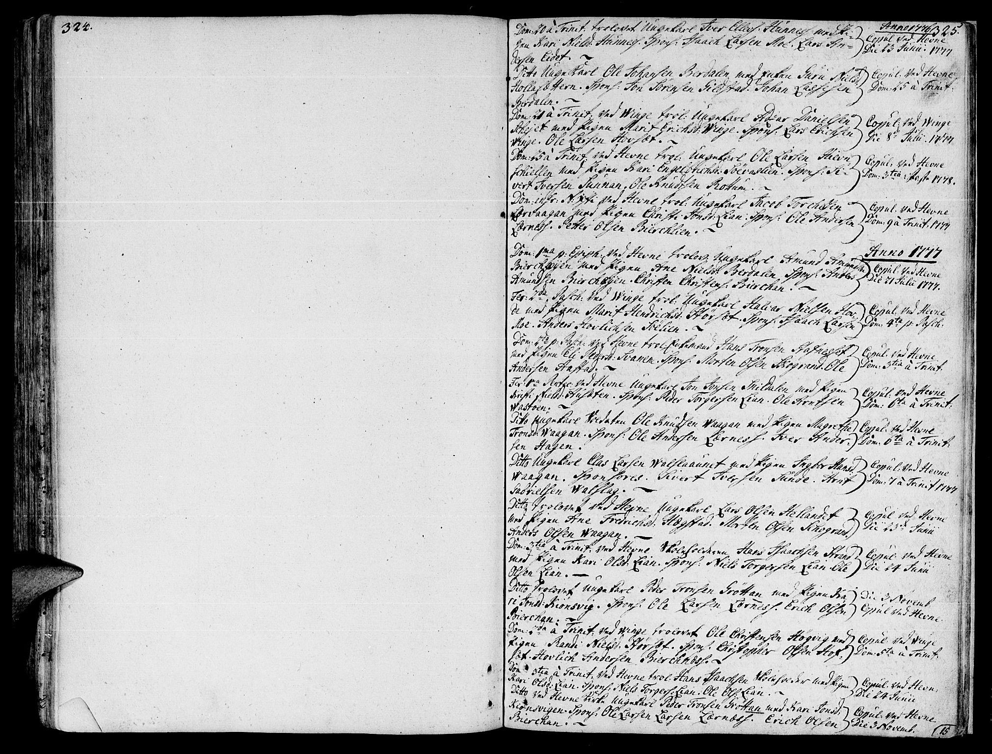 SAT, Ministerialprotokoller, klokkerbøker og fødselsregistre - Sør-Trøndelag, 630/L0489: Ministerialbok nr. 630A02, 1757-1794, s. 324-325