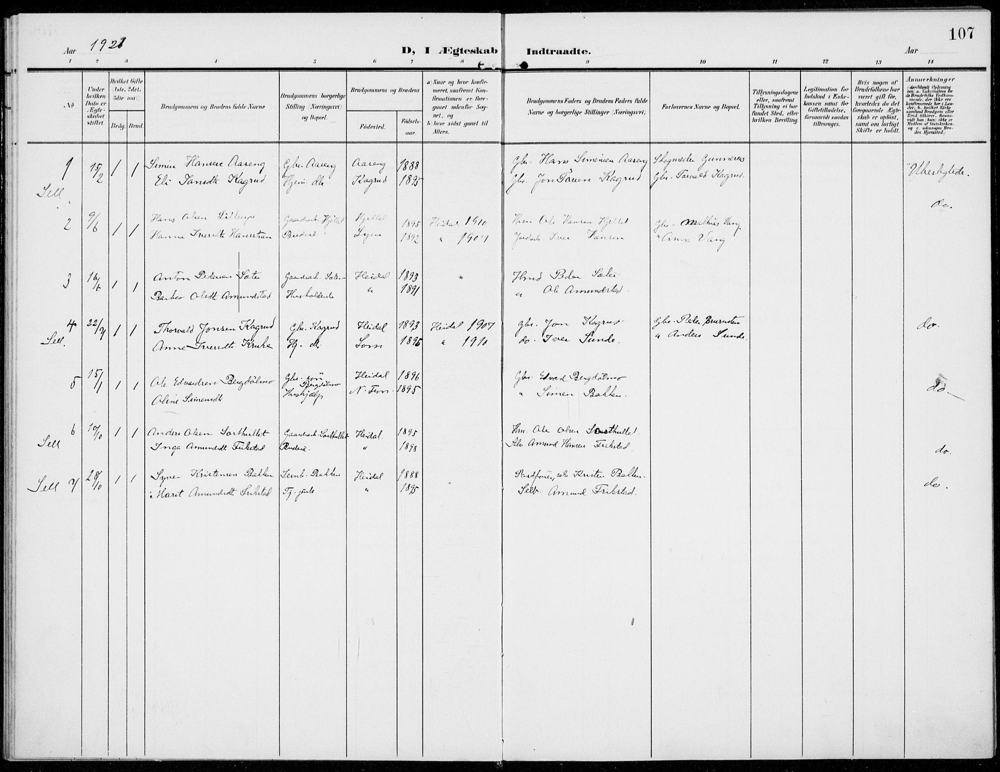 SAH, Sel prestekontor, Ministerialbok nr. 1, 1905-1922, s. 107