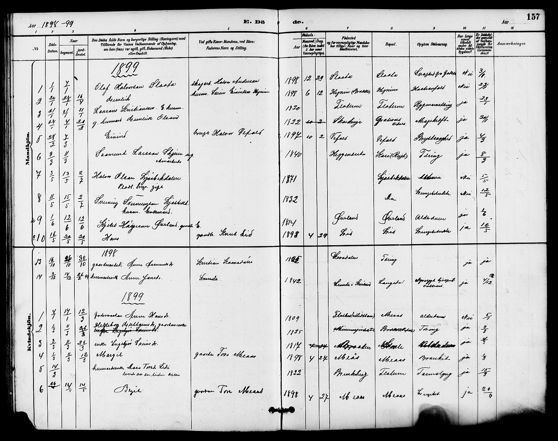 SAKO, Seljord kirkebøker, G/Ga/L0005: Klokkerbok nr. I 5, 1887-1914, s. 157