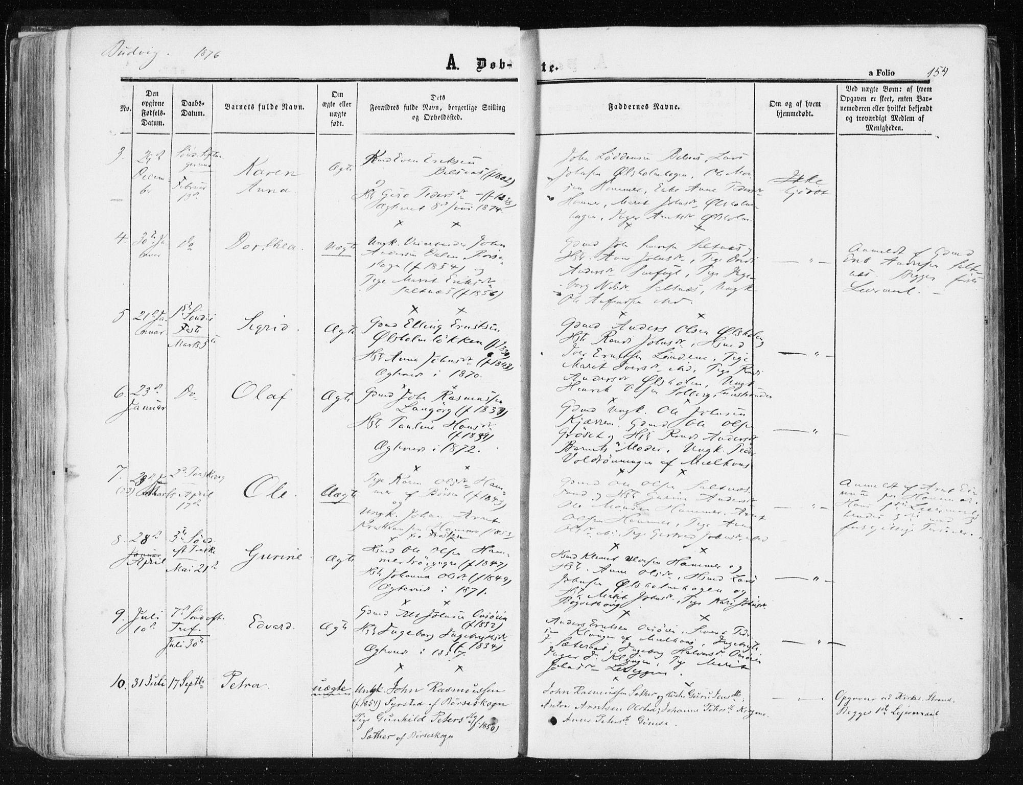 SAT, Ministerialprotokoller, klokkerbøker og fødselsregistre - Sør-Trøndelag, 612/L0377: Ministerialbok nr. 612A09, 1859-1877, s. 154