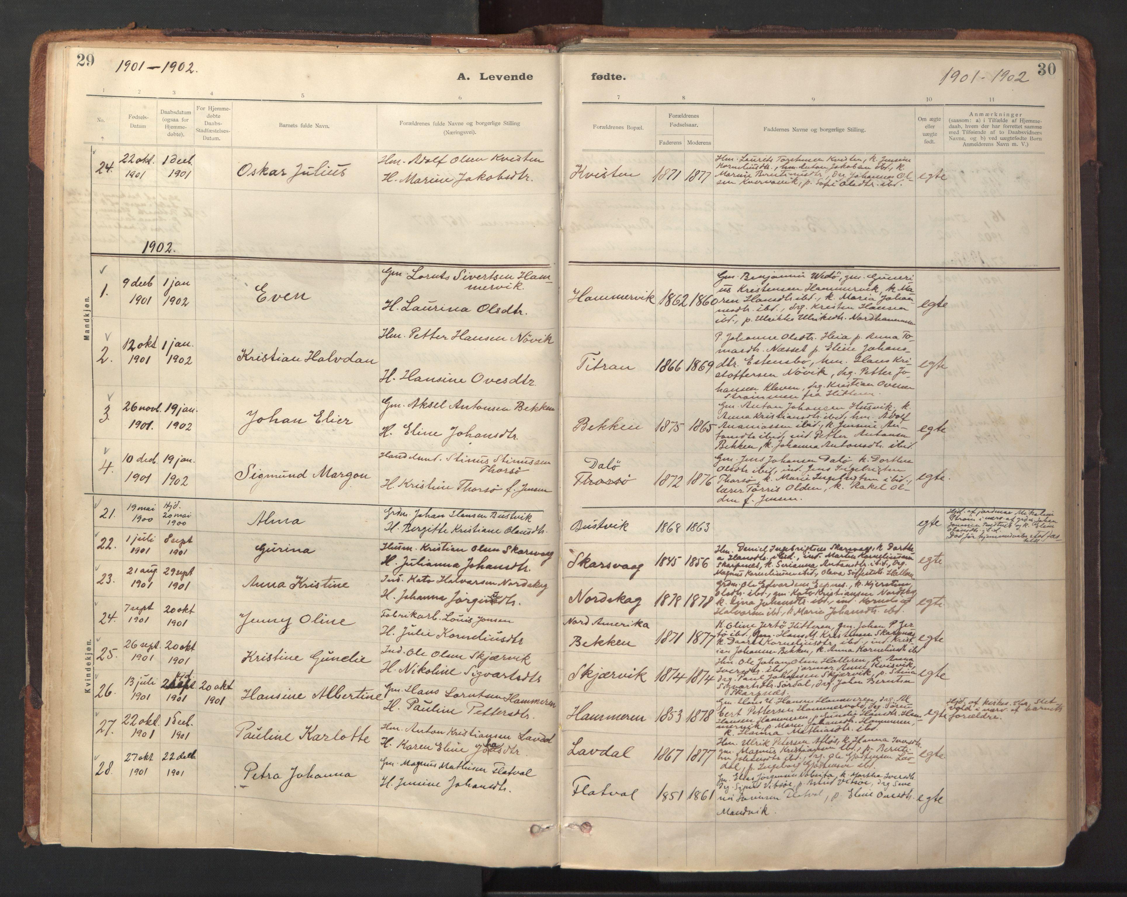 SAT, Ministerialprotokoller, klokkerbøker og fødselsregistre - Sør-Trøndelag, 641/L0596: Ministerialbok nr. 641A02, 1898-1915, s. 29-30