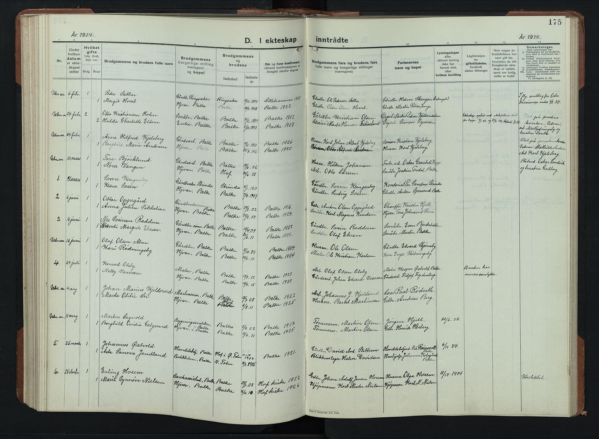 SAH, Balke prestekontor, Klokkerbok nr. 2, 1929-1951, s. 175