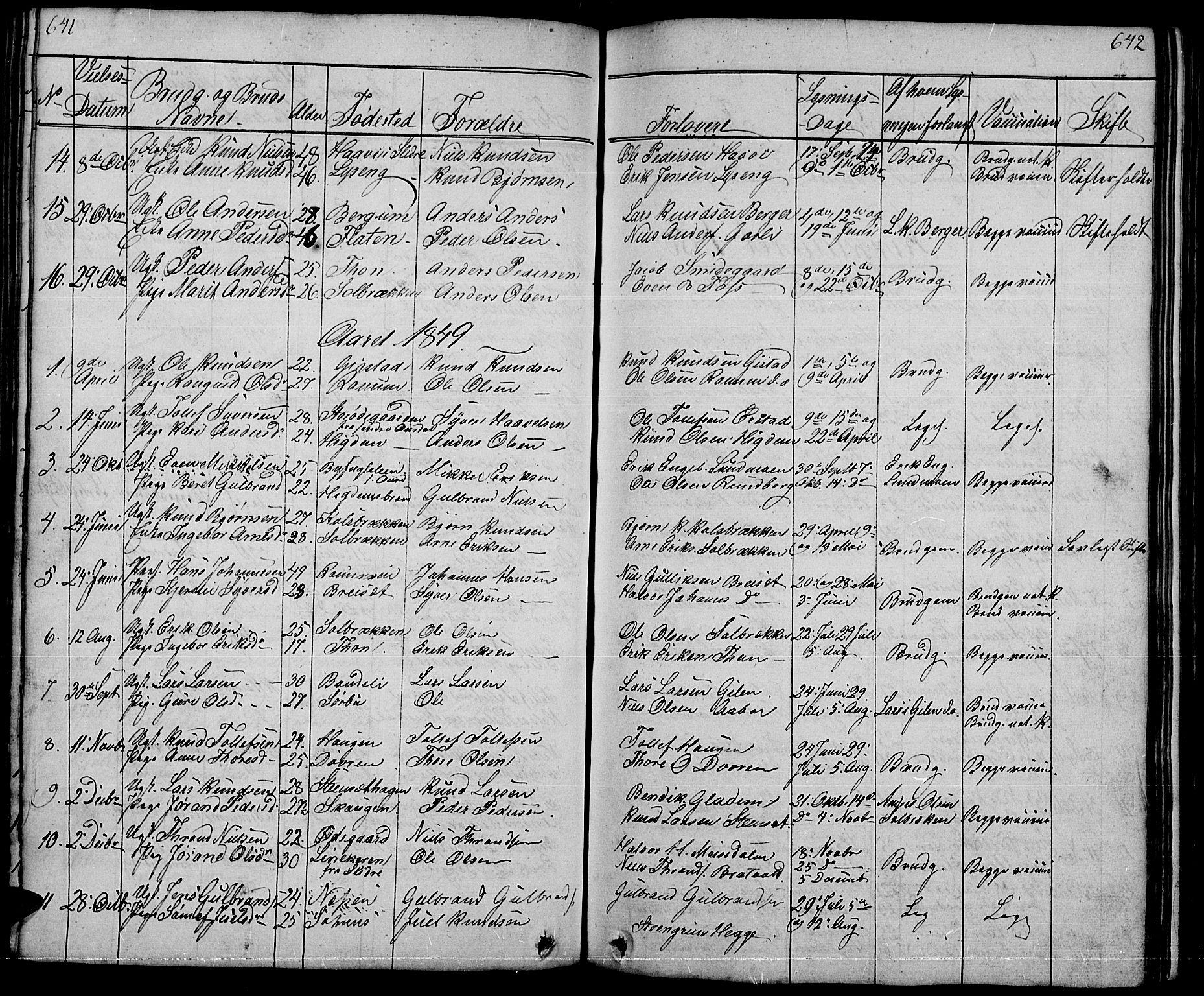 SAH, Nord-Aurdal prestekontor, Klokkerbok nr. 1, 1834-1887, s. 641-642