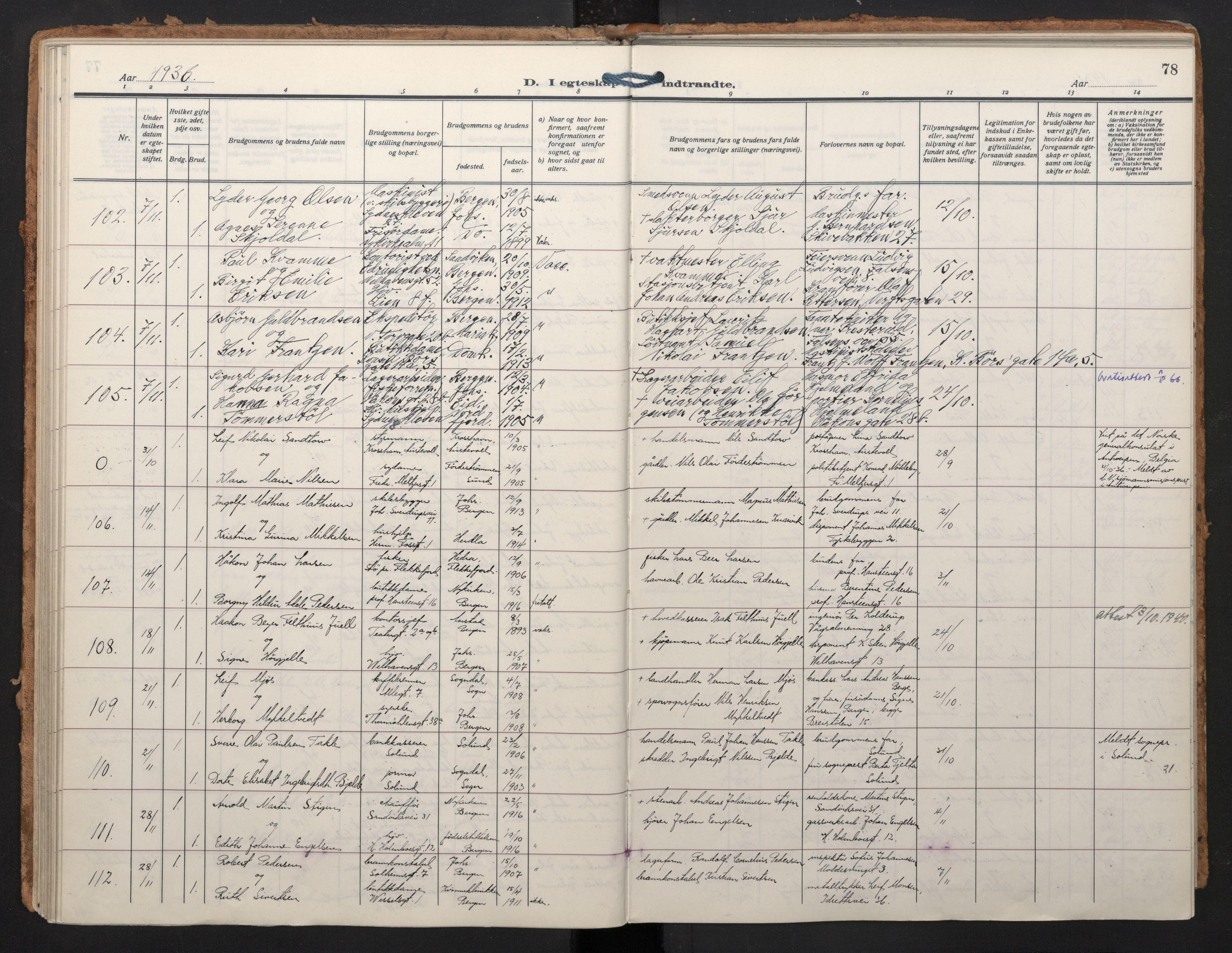 SAB, Johanneskirken Sokneprestembete, H/Haa/L0014: Ministerialbok nr. D 3, 1929-1949, s. 77b-78a