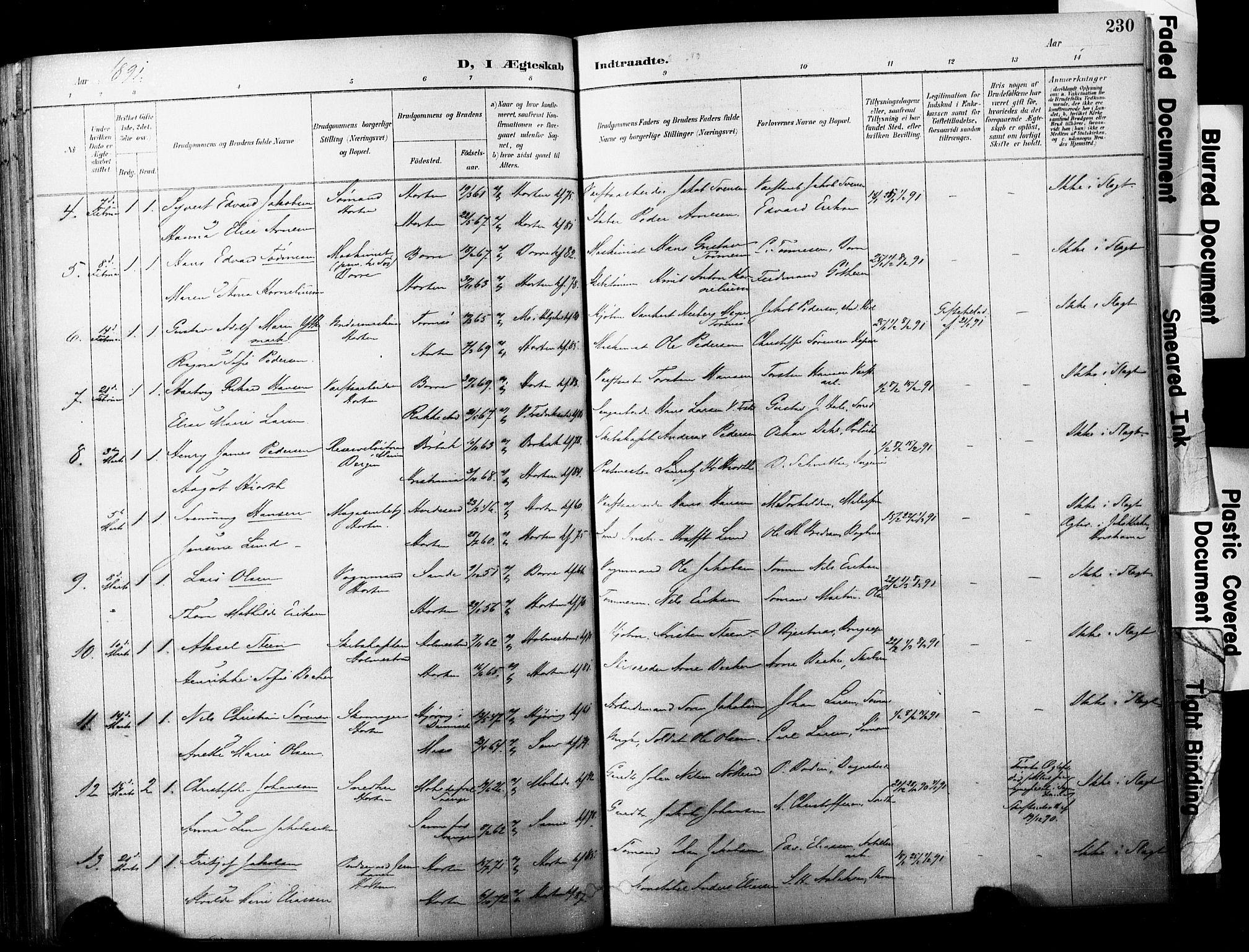 SAKO, Horten kirkebøker, F/Fa/L0004: Ministerialbok nr. 4, 1888-1895, s. 230