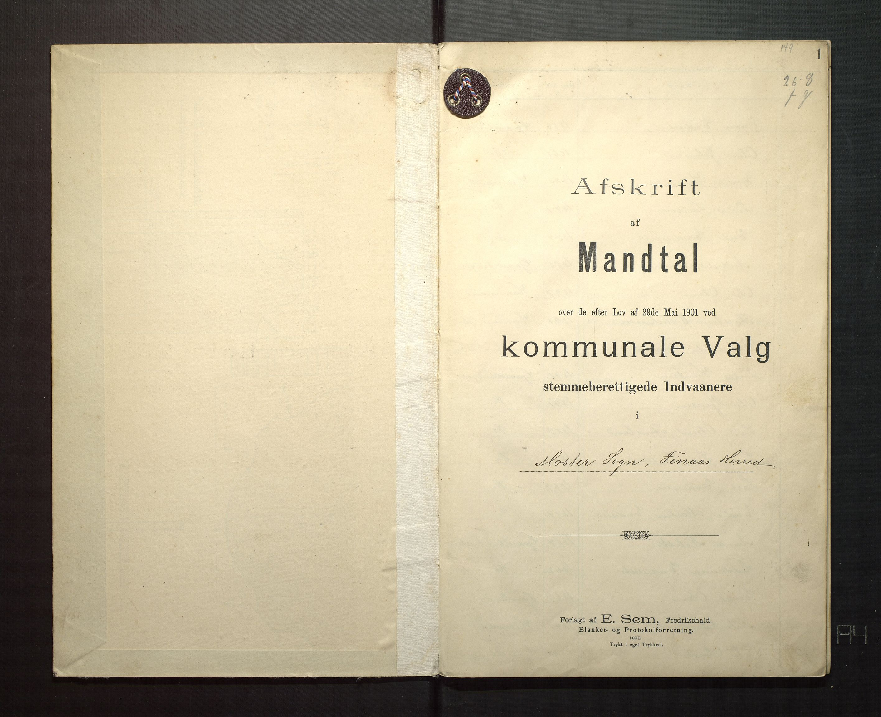 IKAH, Finnaas kommune. Valstyret, F/Fa/L0003: Manntal over røysteføre i Moster sokn, 1901, s. 1