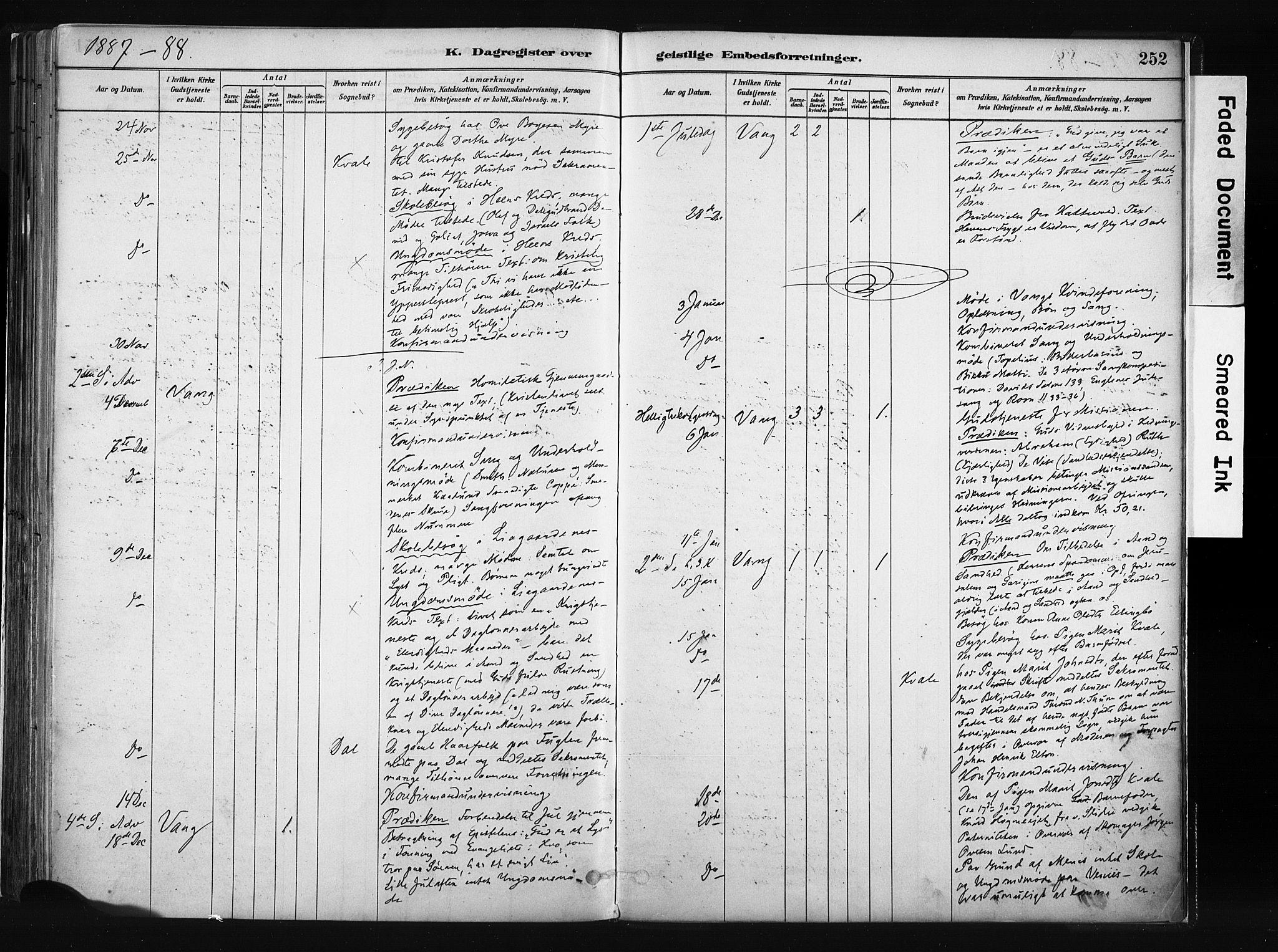 SAH, Vang prestekontor, Valdres, Ministerialbok nr. 8, 1882-1910, s. 252