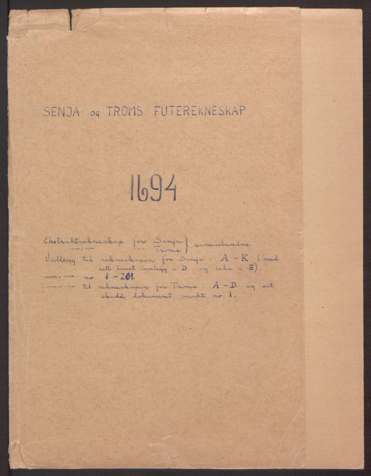 RA, Rentekammeret inntil 1814, Reviderte regnskaper, Fogderegnskap, R68/L4753: Fogderegnskap Senja og Troms, 1694-1696, s. 2