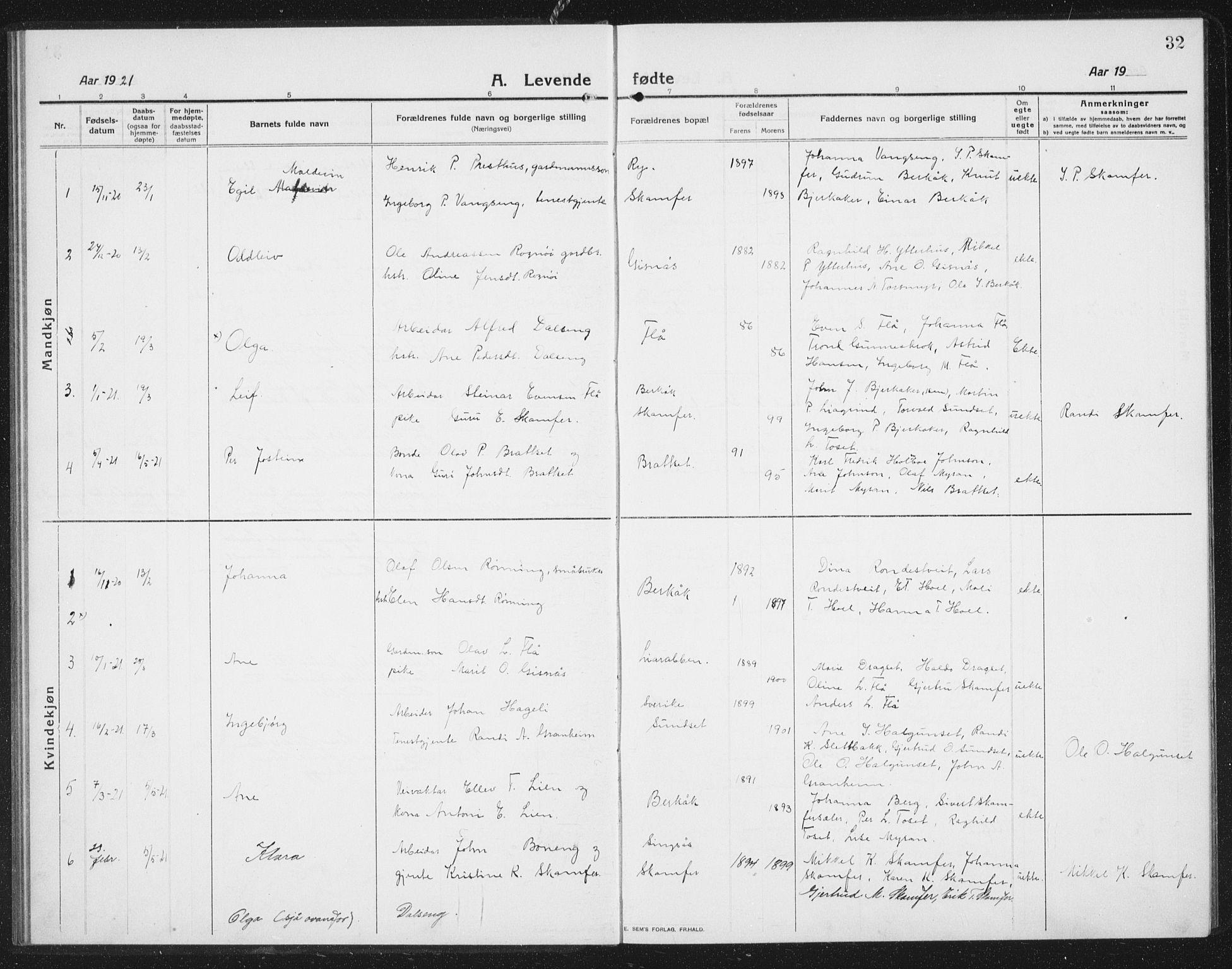 SAT, Ministerialprotokoller, klokkerbøker og fødselsregistre - Sør-Trøndelag, 675/L0888: Klokkerbok nr. 675C01, 1913-1935, s. 32