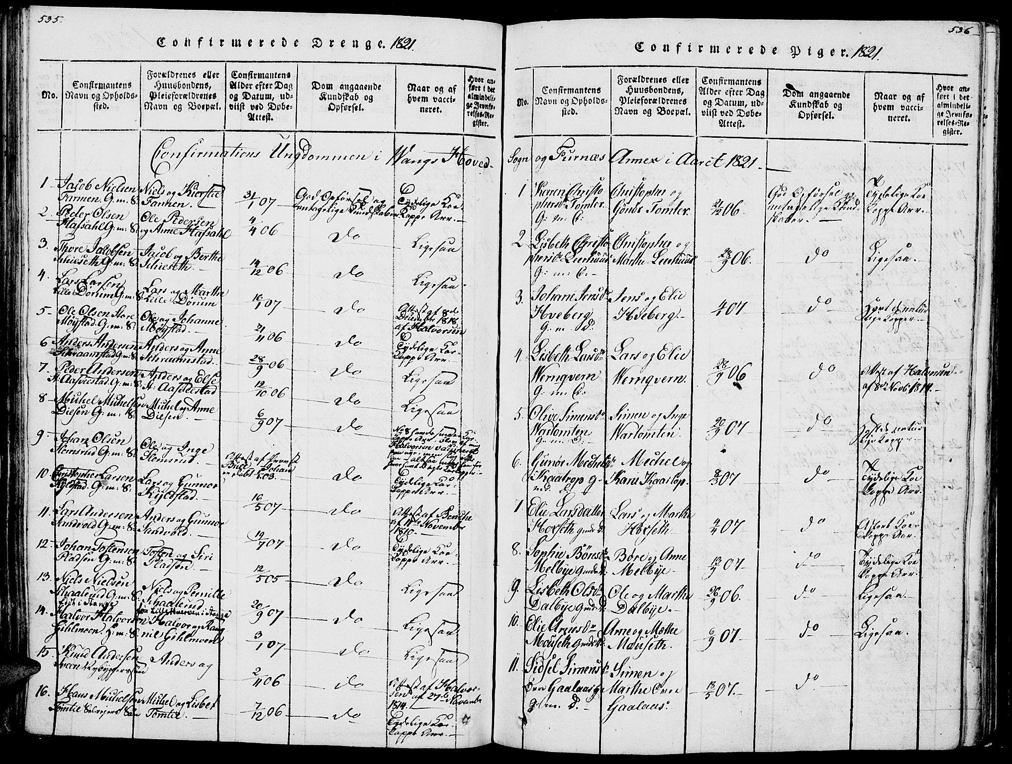 SAH, Vang prestekontor, Hedmark, H/Ha/Haa/L0007: Ministerialbok nr. 7, 1813-1826, s. 535-536