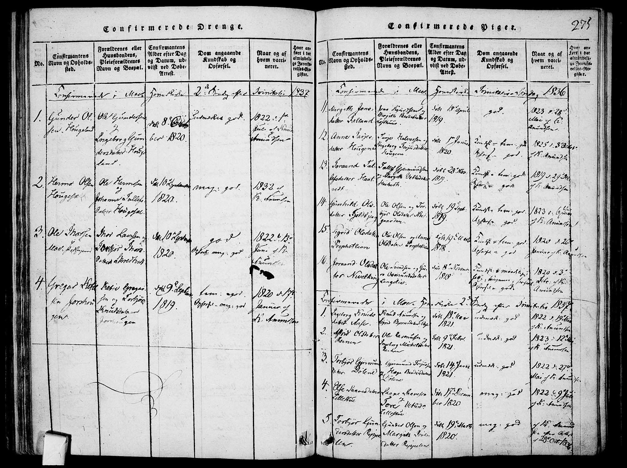 SAKO, Mo kirkebøker, F/Fa/L0004: Ministerialbok nr. I 4, 1814-1844, s. 275