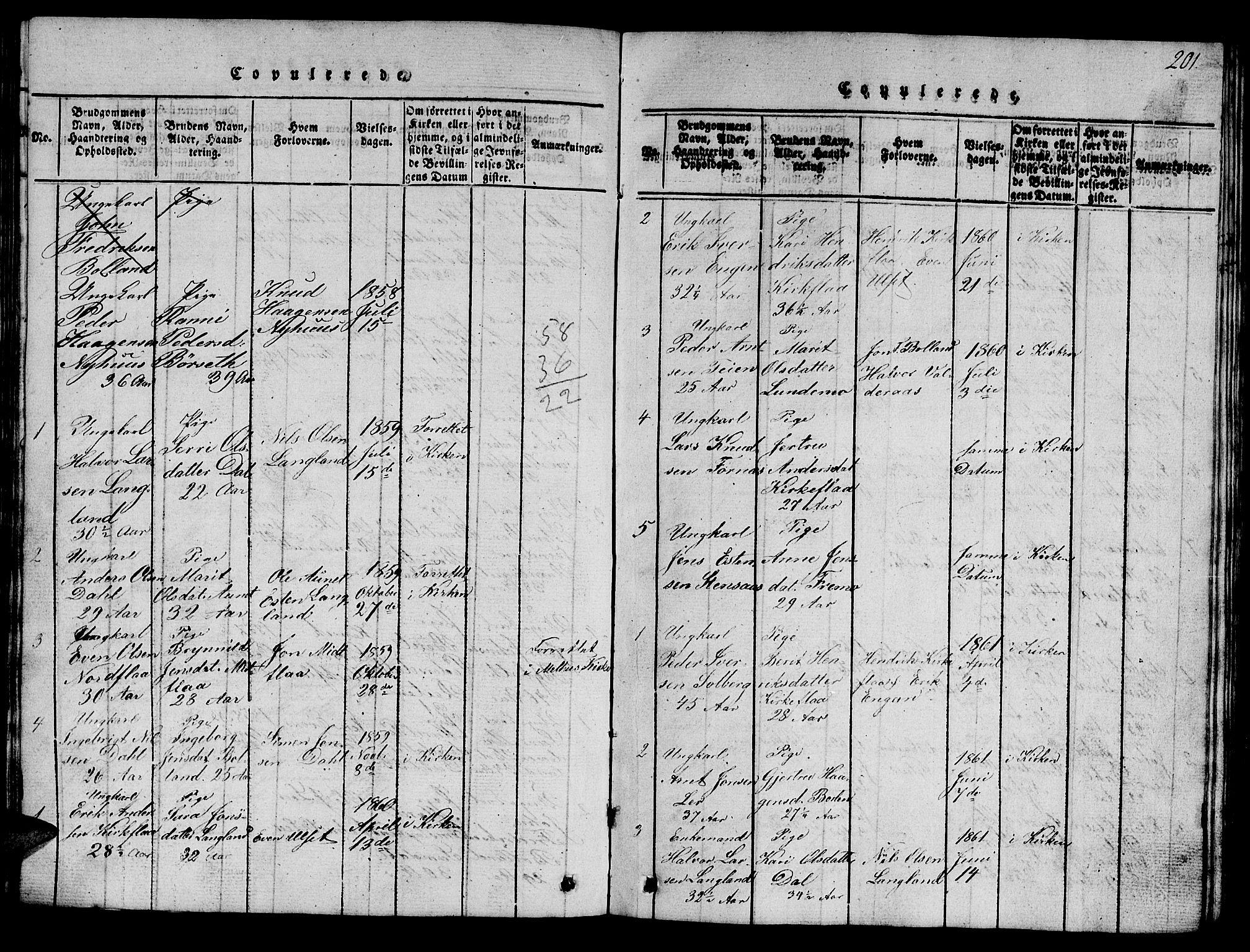 SAT, Ministerialprotokoller, klokkerbøker og fødselsregistre - Sør-Trøndelag, 693/L1121: Klokkerbok nr. 693C02, 1816-1869, s. 201