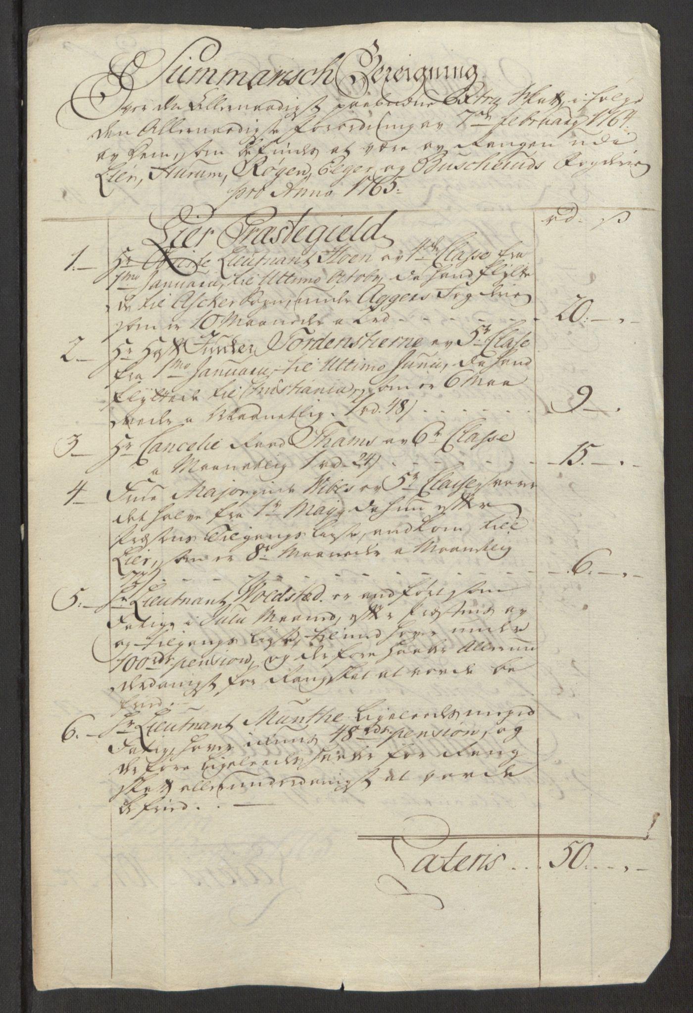 RA, Rentekammeret inntil 1814, Reviderte regnskaper, Fogderegnskap, R31/L1834: Ekstraskatten Hurum, Røyken, Eiker, Lier og Buskerud, 1765, s. 466