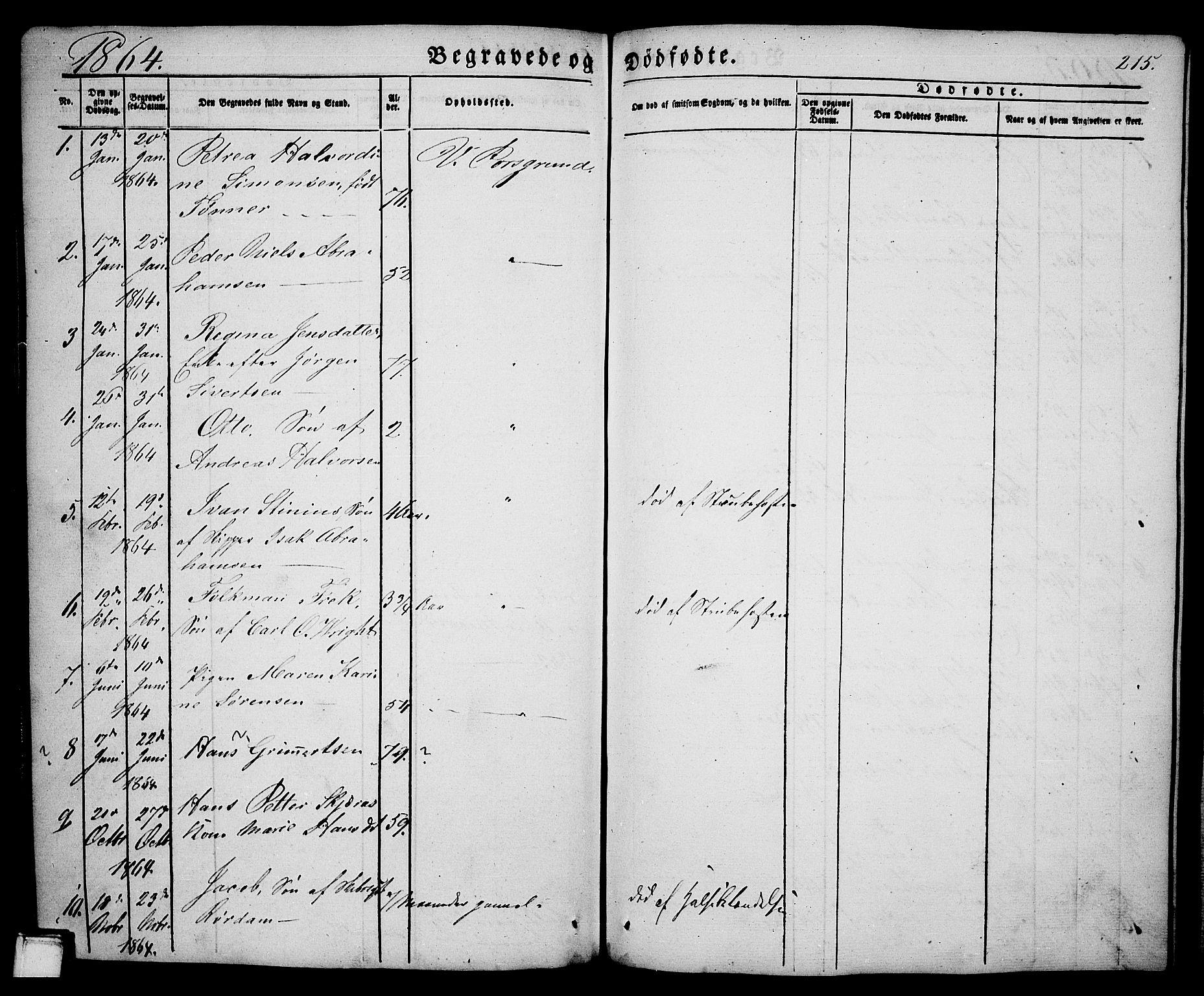 SAKO, Porsgrunn kirkebøker , G/Ga/L0002: Klokkerbok nr. I 2, 1847-1877, s. 215