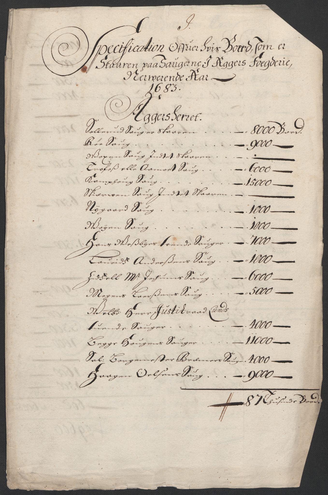 RA, Rentekammeret inntil 1814, Reviderte regnskaper, Fogderegnskap, R08/L0420: Fogderegnskap Aker, 1682-1691, s. 269