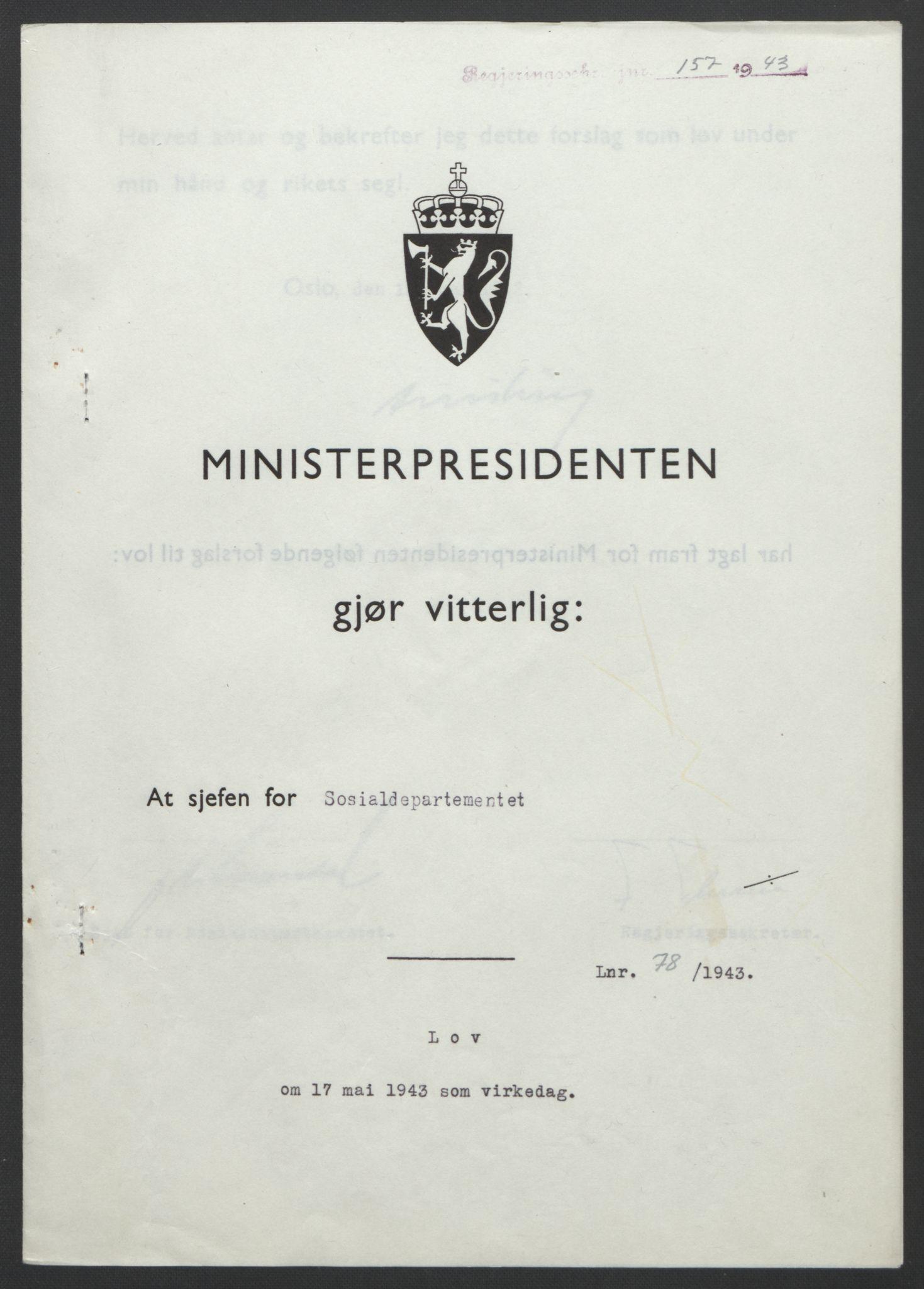 RA, NS-administrasjonen 1940-1945 (Statsrådsekretariatet, de kommisariske statsråder mm), D/Db/L0099: Lover, 1943, s. 357