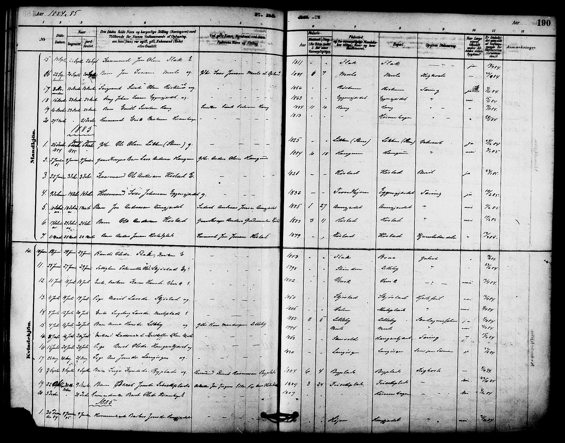 SAT, Ministerialprotokoller, klokkerbøker og fødselsregistre - Sør-Trøndelag, 612/L0378: Ministerialbok nr. 612A10, 1878-1897, s. 190