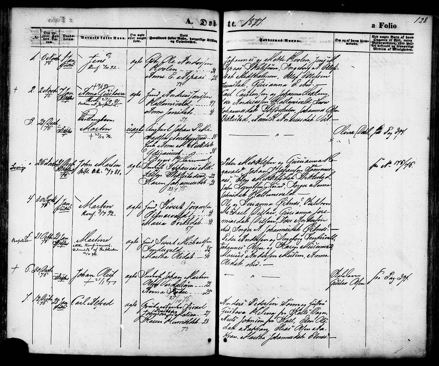 SAT, Ministerialprotokoller, klokkerbøker og fødselsregistre - Nord-Trøndelag, 723/L0242: Ministerialbok nr. 723A11, 1870-1880, s. 128