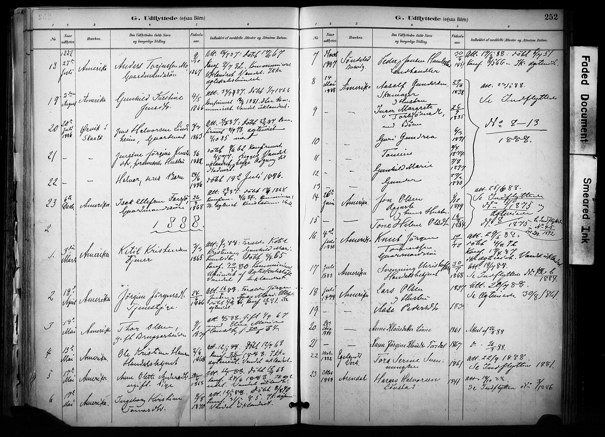 SAKO, Sannidal kirkebøker, F/Fa/L0015: Ministerialbok nr. 15, 1884-1899, s. 252