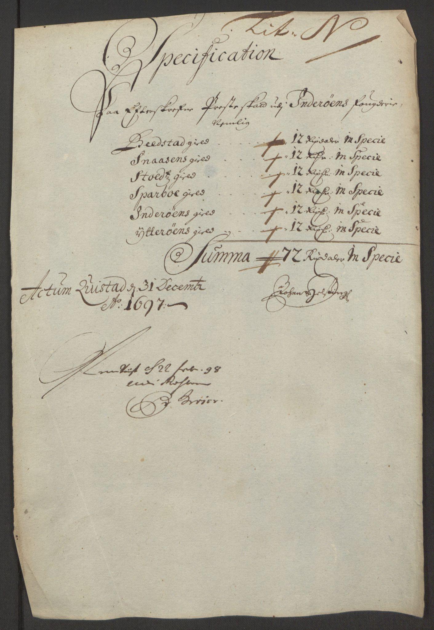 RA, Rentekammeret inntil 1814, Reviderte regnskaper, Fogderegnskap, R63/L4309: Fogderegnskap Inderøy, 1695-1697, s. 499