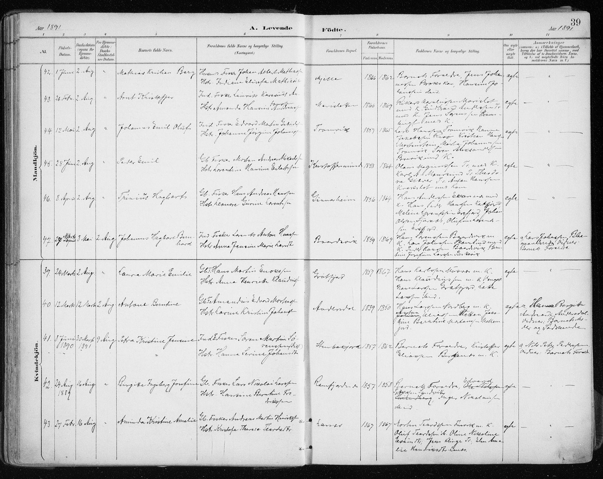 SATØ, Tromsøysund sokneprestkontor, G/Ga/L0005kirke: Ministerialbok nr. 5, 1888-1896, s. 39