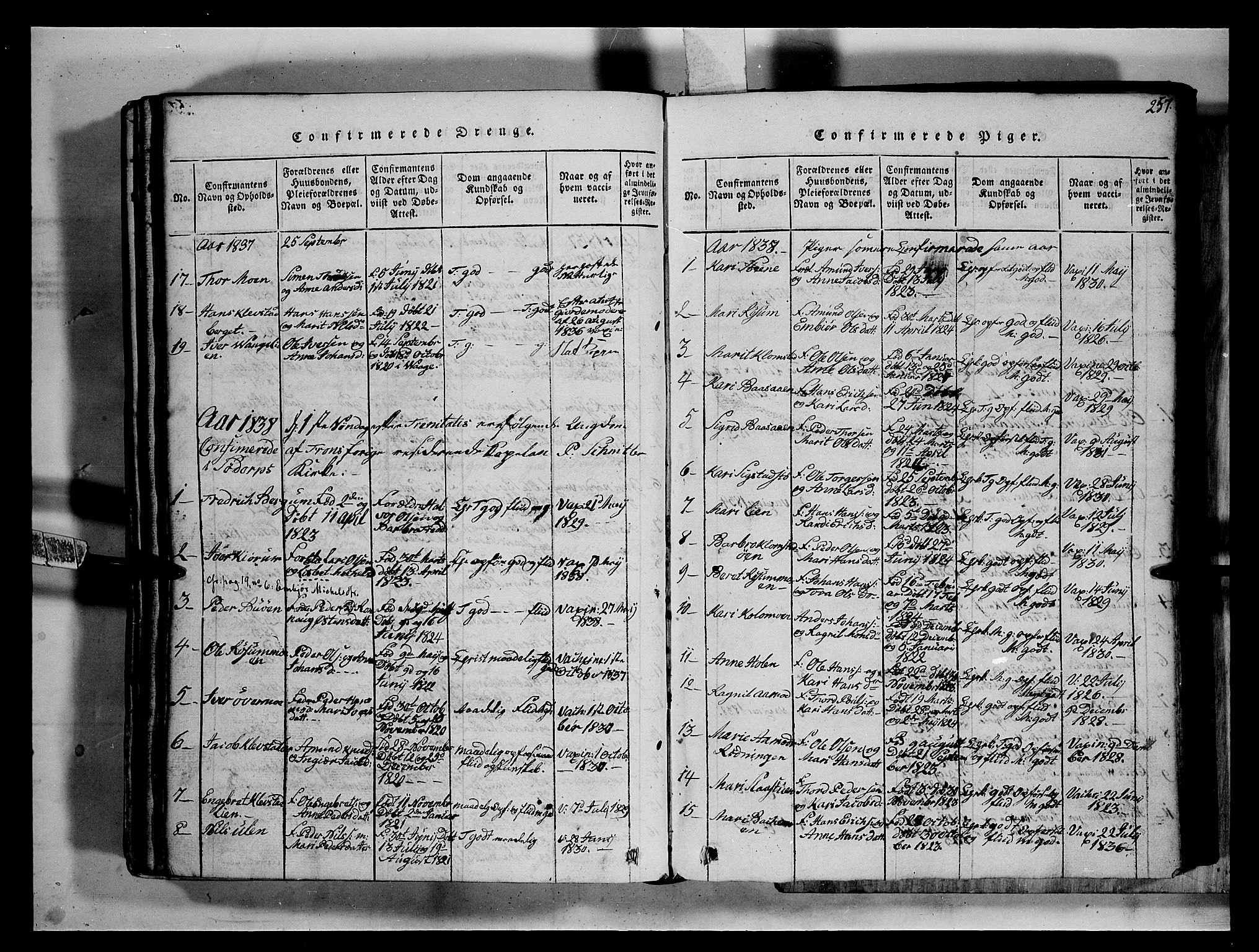 SAH, Fron prestekontor, H/Ha/Hab/L0002: Klokkerbok nr. 2, 1816-1850, s. 257